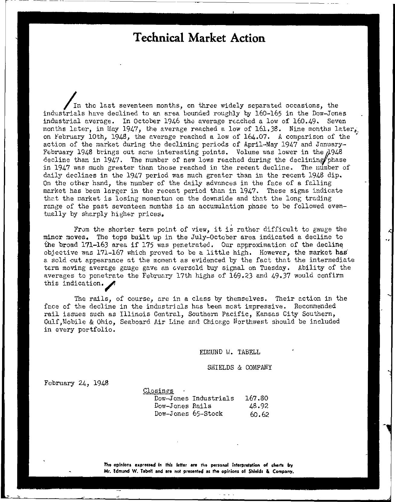 Tabell's Market Letter - February 24, 1948