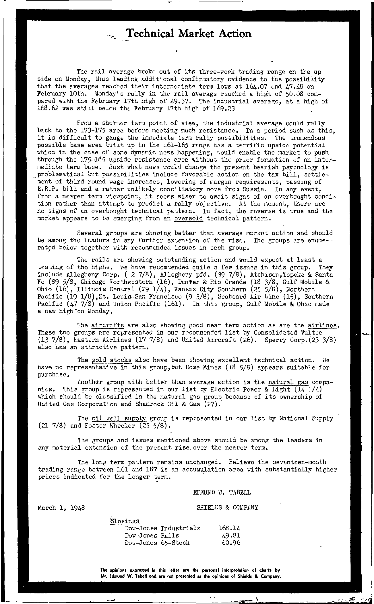 Tabell's Market Letter - March 01, 1948