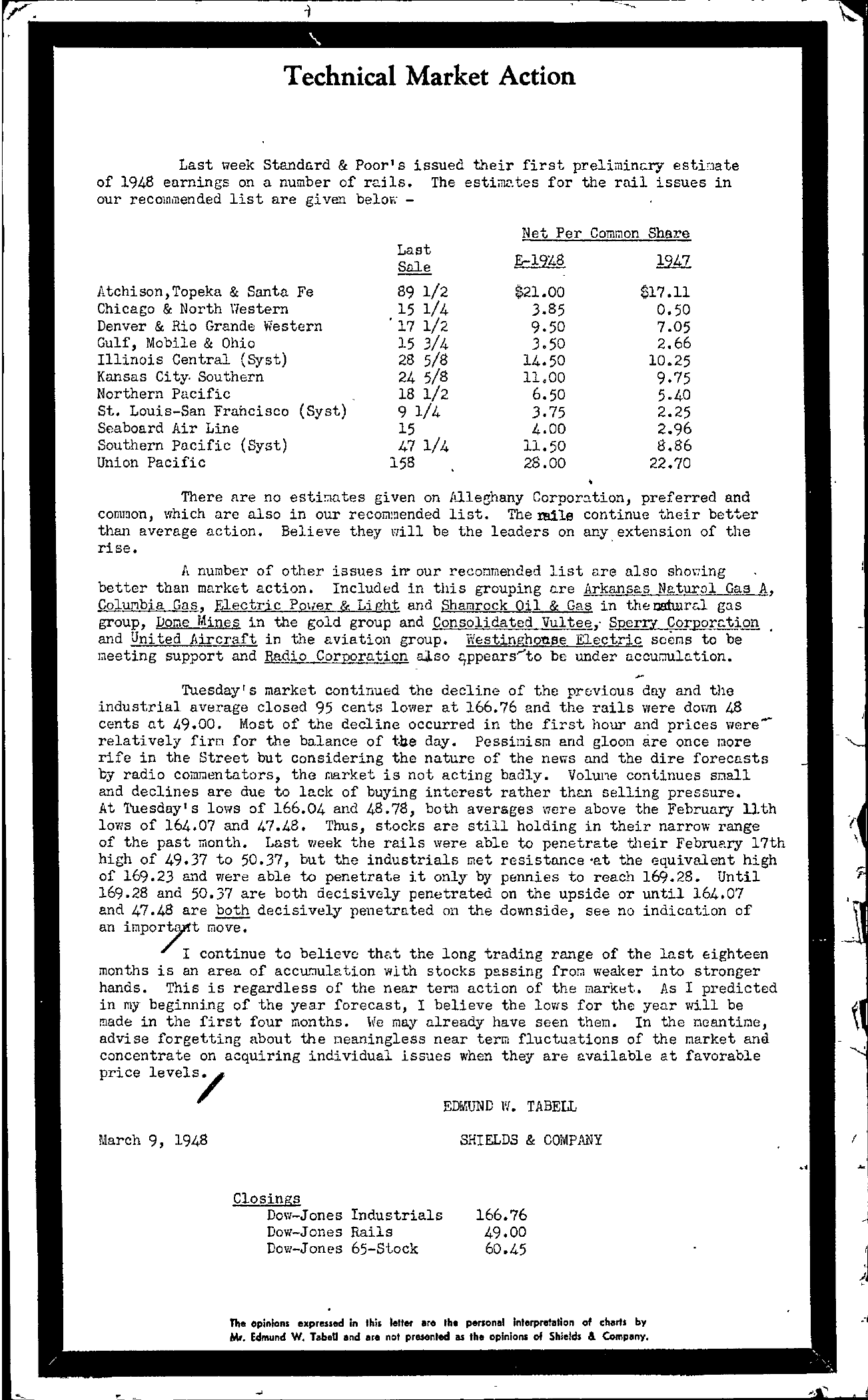 Tabell's Market Letter - March 09, 1948