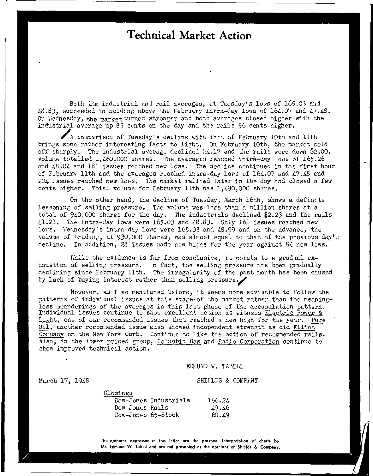 Tabell's Market Letter - March 17, 1948