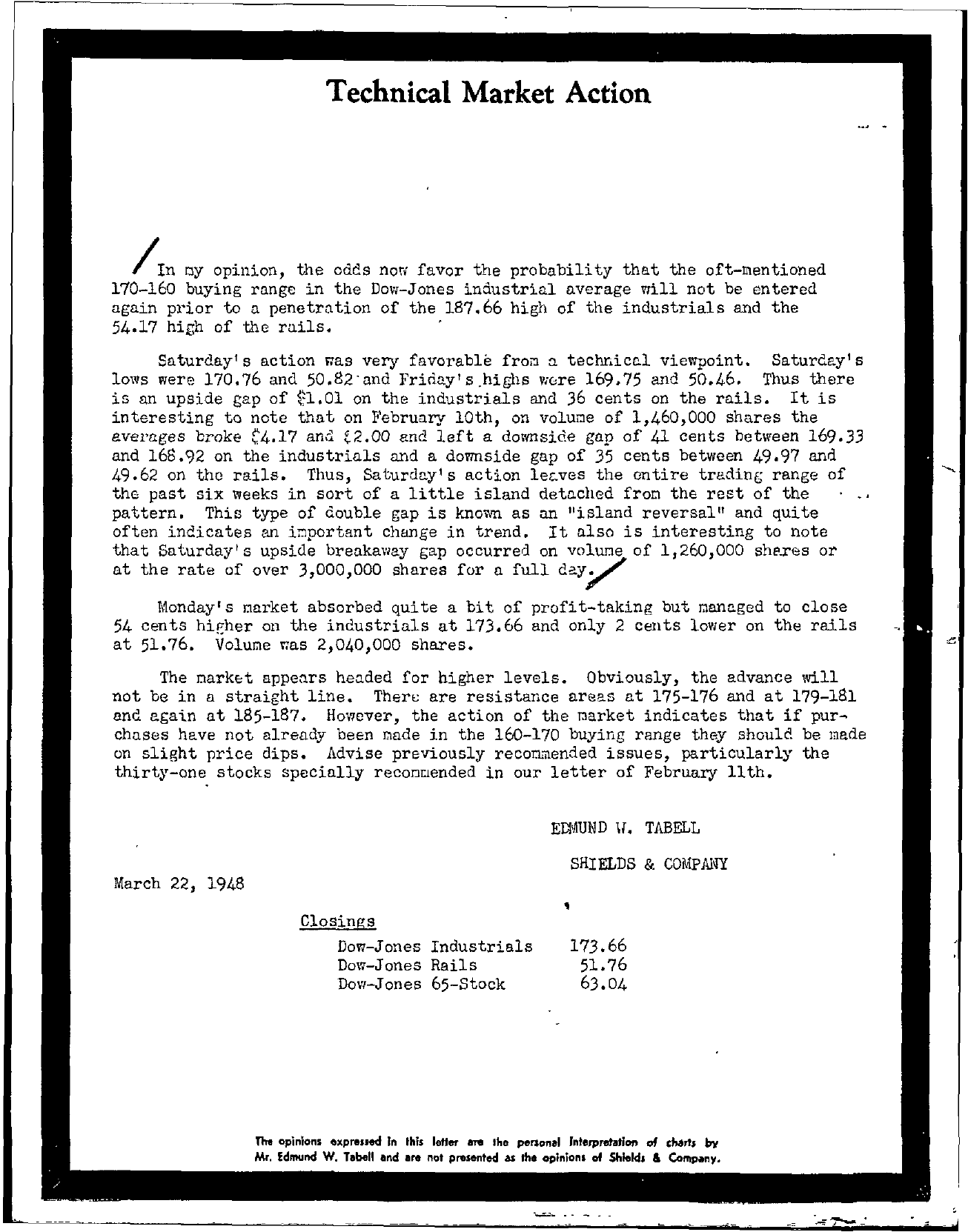 Tabell's Market Letter - March 22, 1948