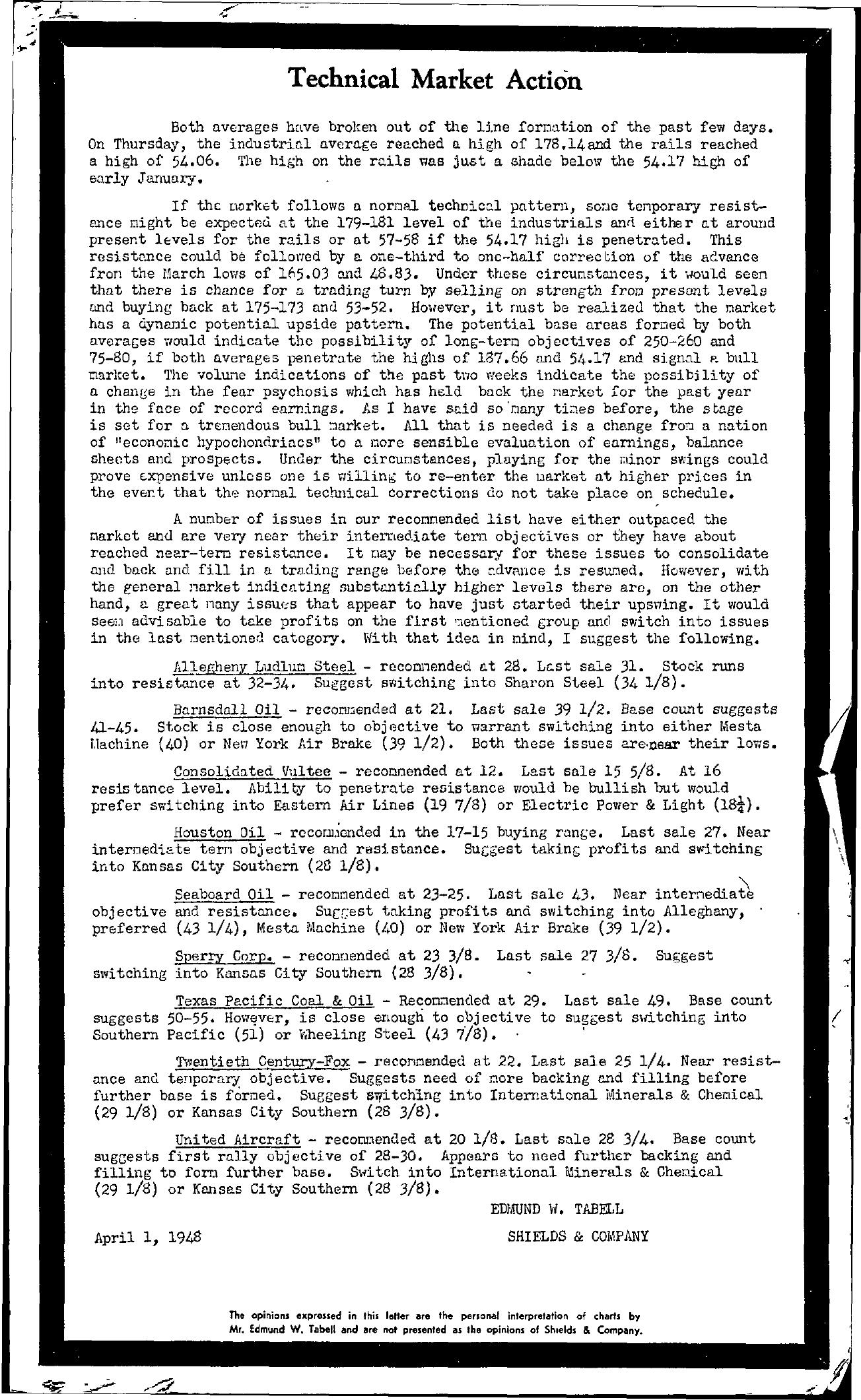 Tabell's Market Letter - April 01, 1948