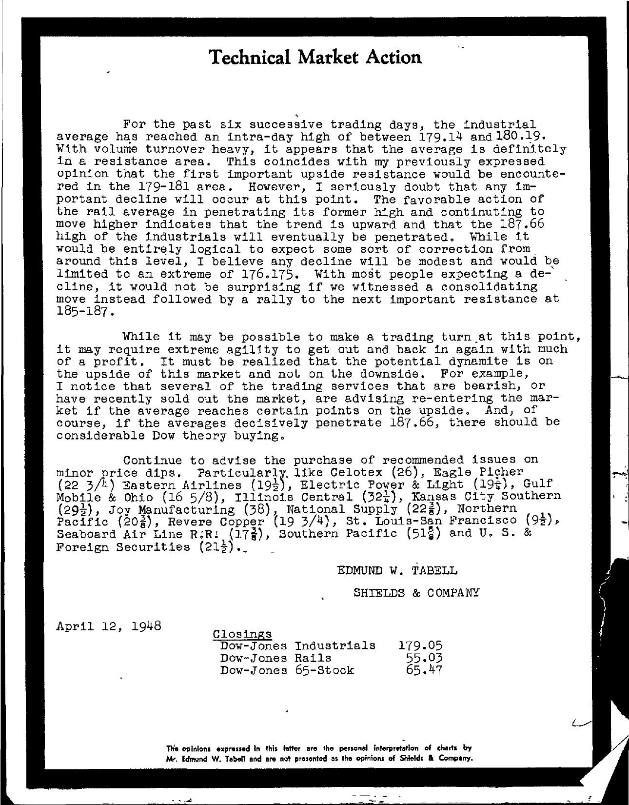 Tabell's Market Letter - April 12, 1948