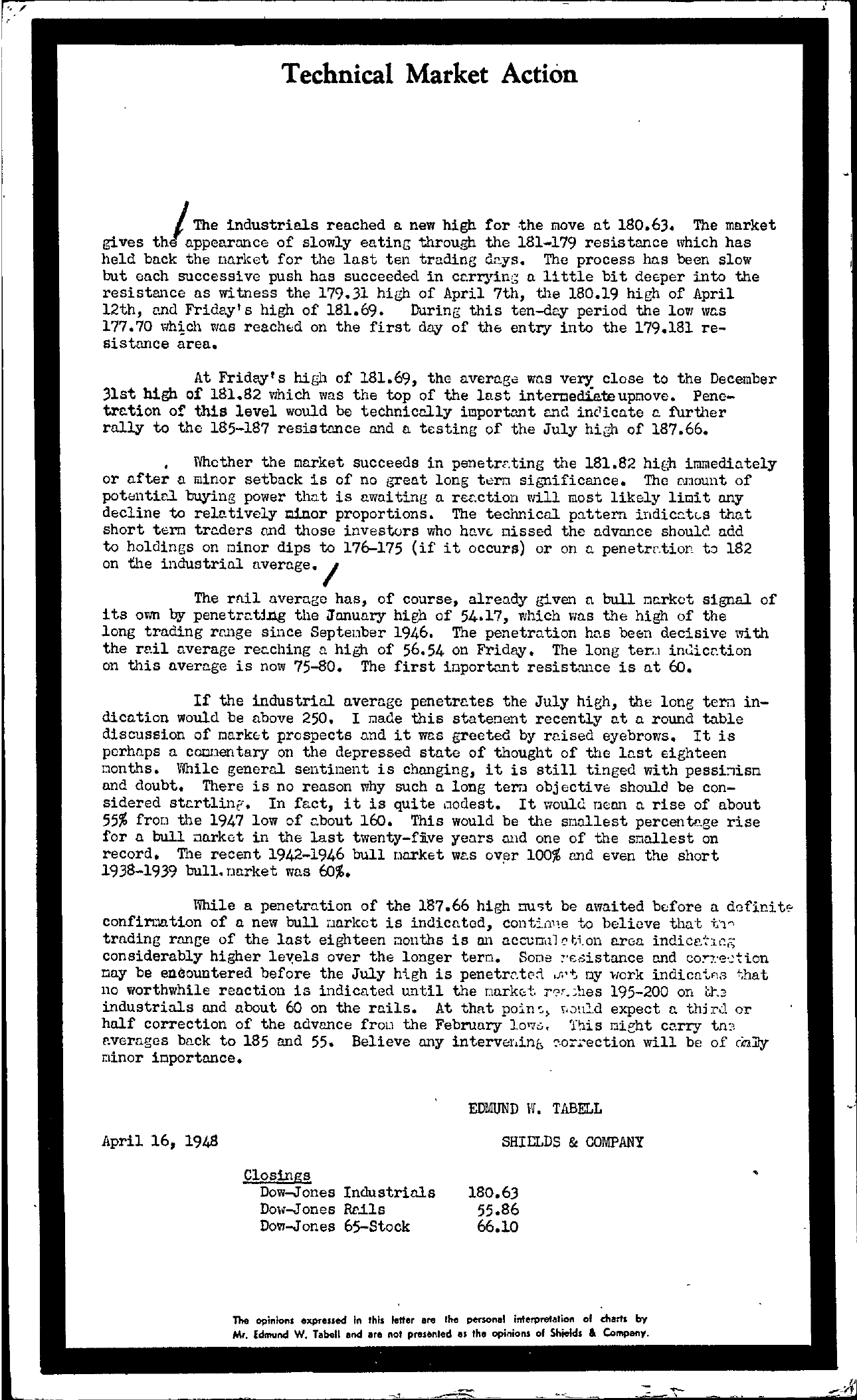 Tabell's Market Letter - April 16, 1948