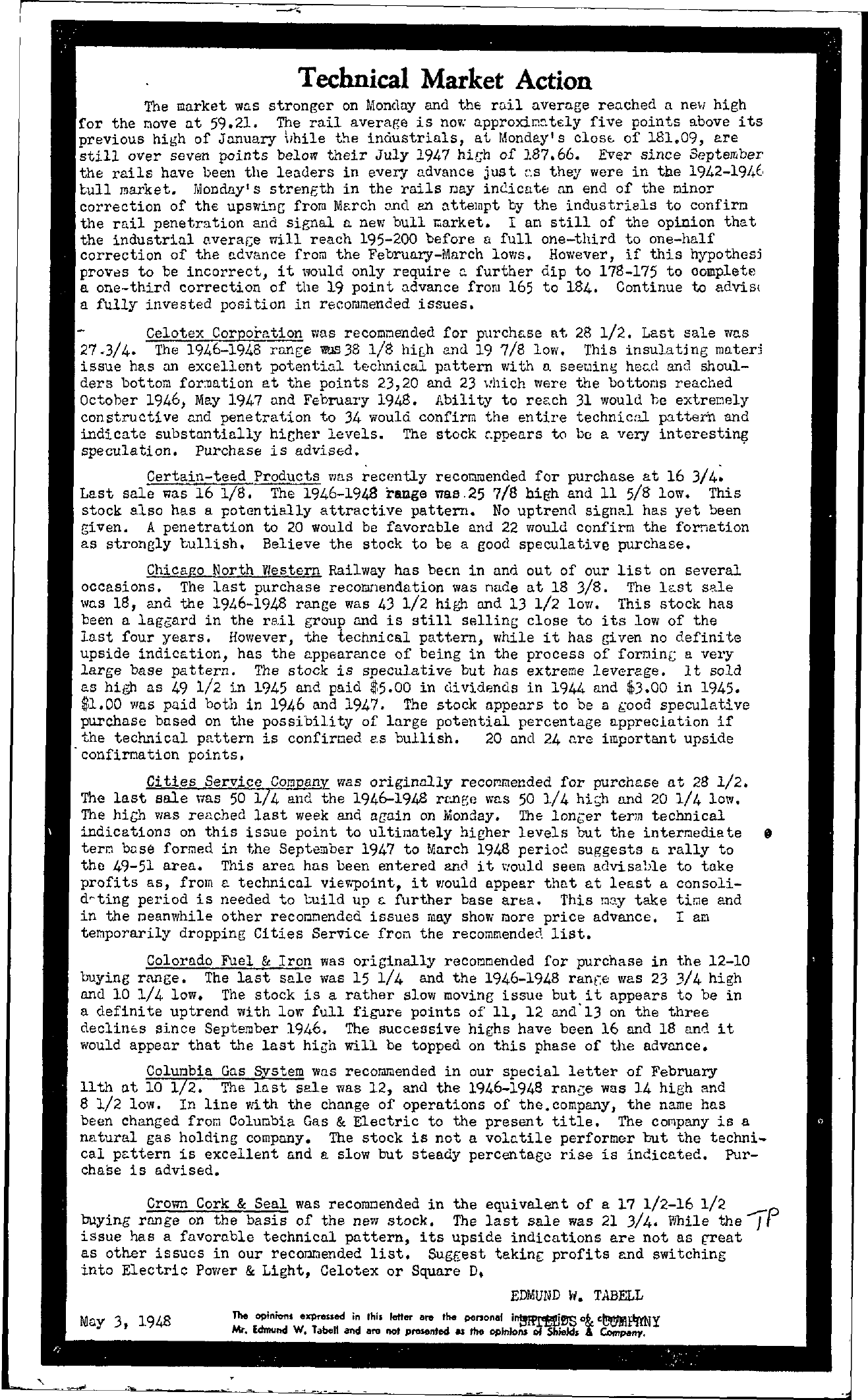 Tabell's Market Letter - May 03, 1948