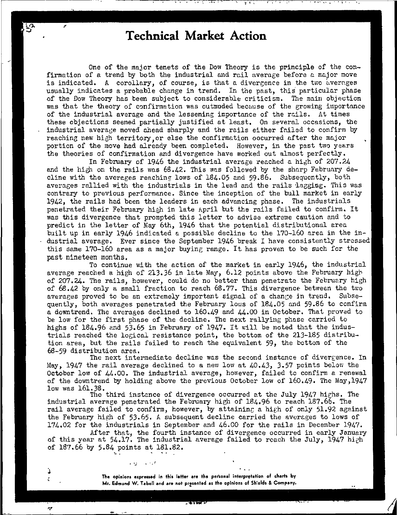 Tabell's Market Letter - May 05, 1948 page 1