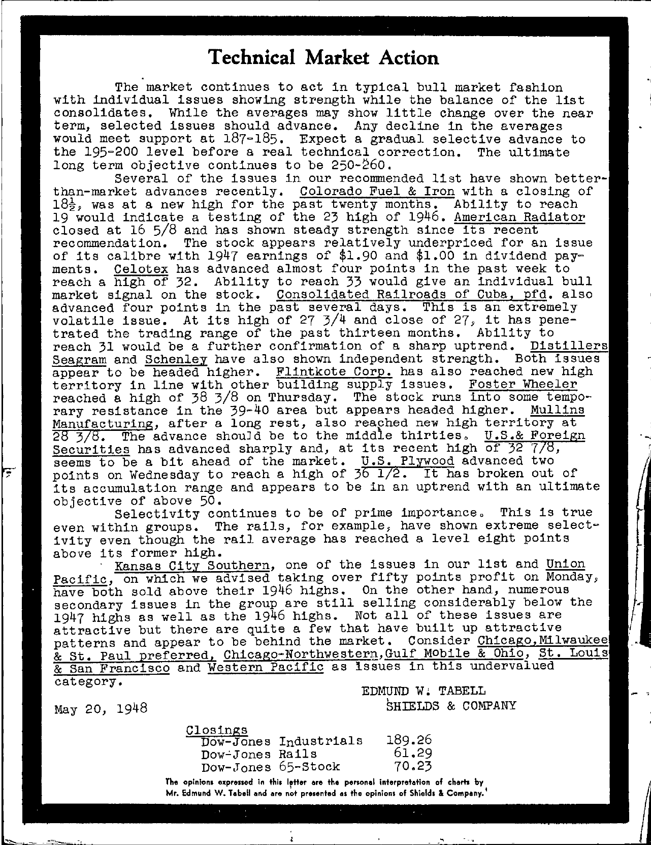 Tabell's Market Letter - May 20, 1948