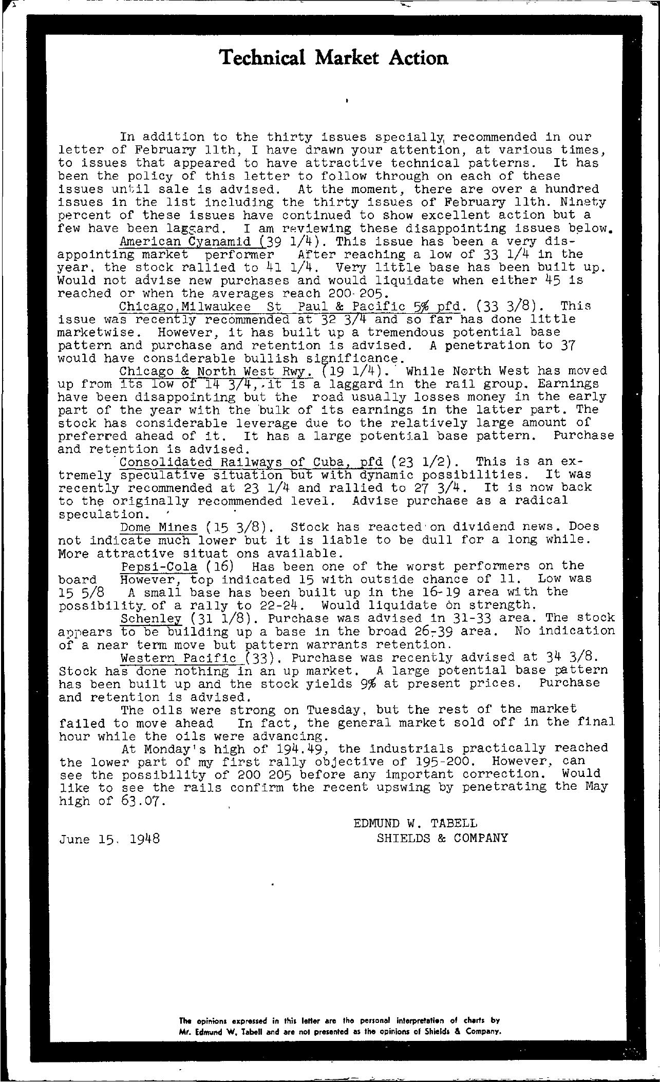 Tabell's Market Letter - June 15, 1948