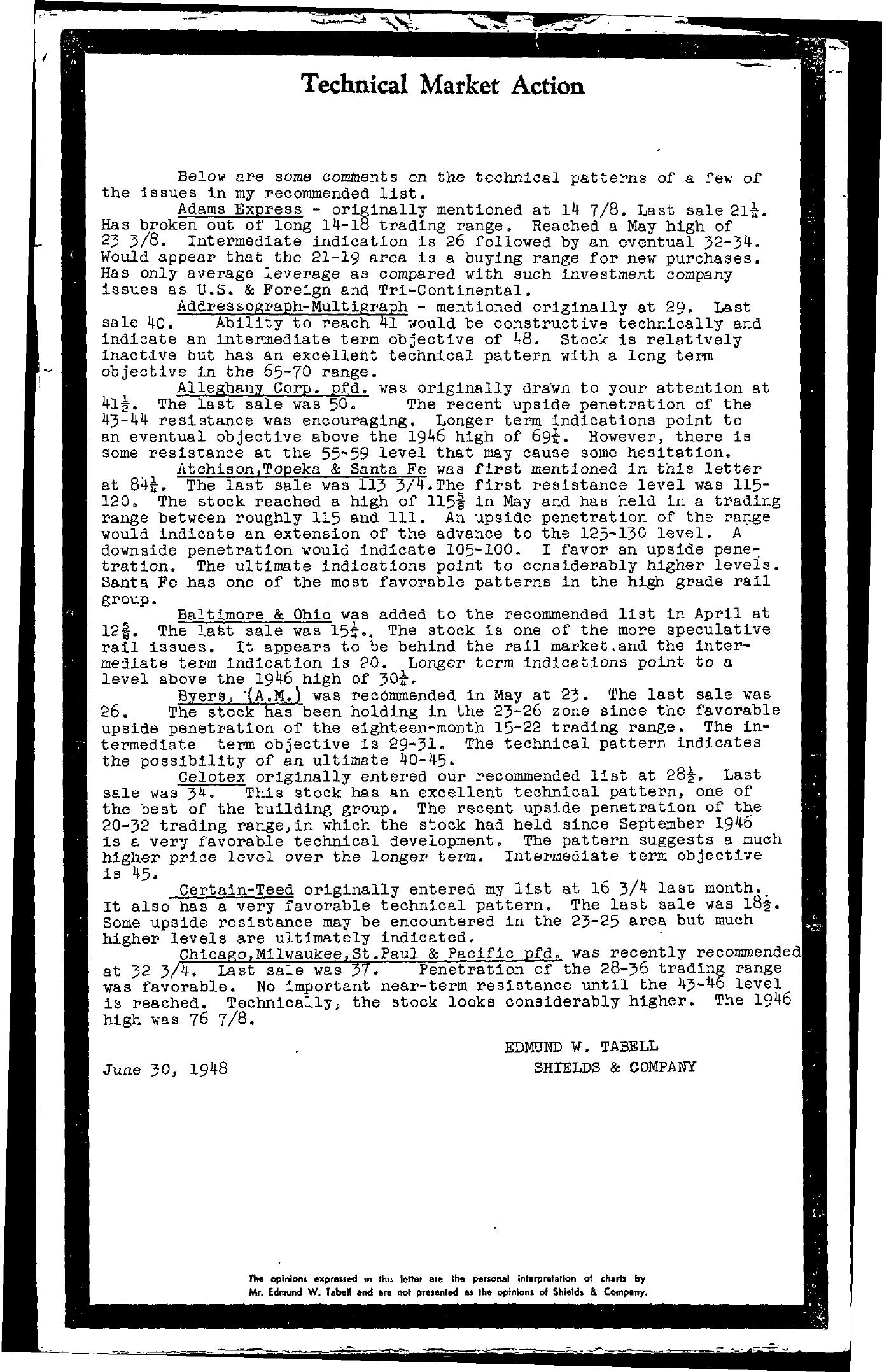 Tabell's Market Letter - June 30, 1948