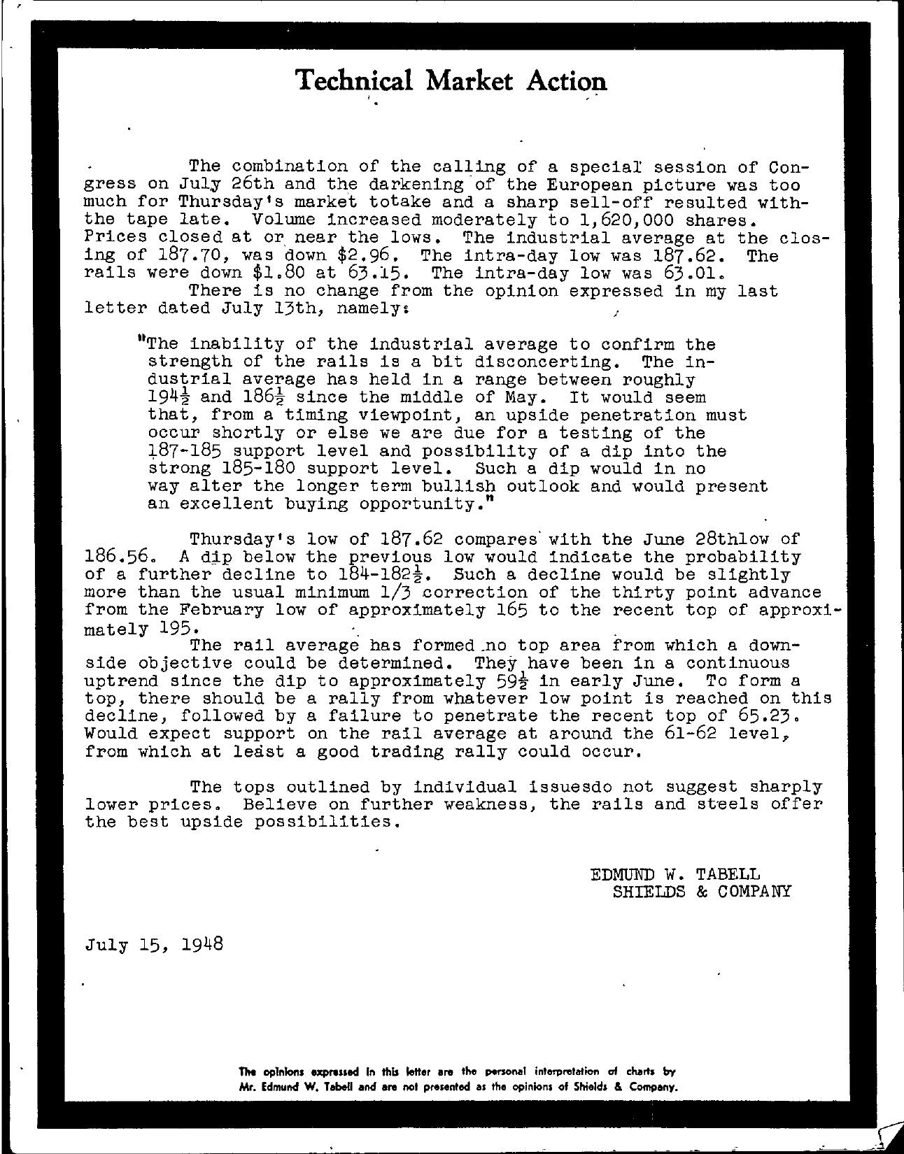 Tabell's Market Letter - July 15, 1948