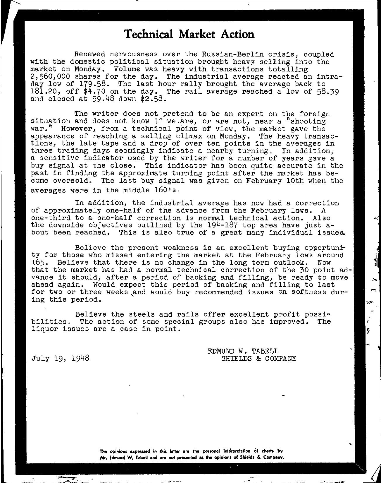 Tabell's Market Letter - July 19, 1948