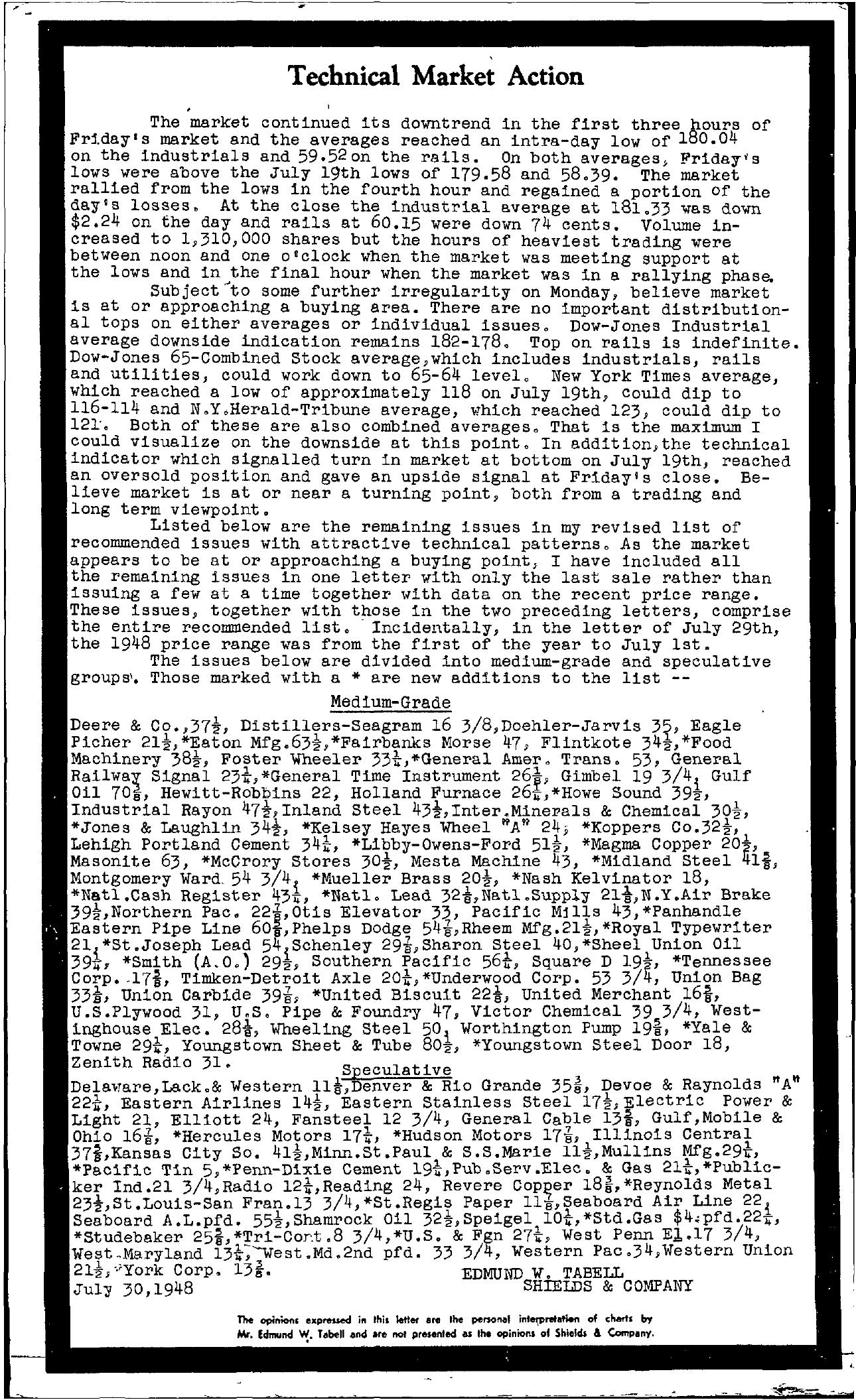 Tabell's Market Letter - July 30, 1948