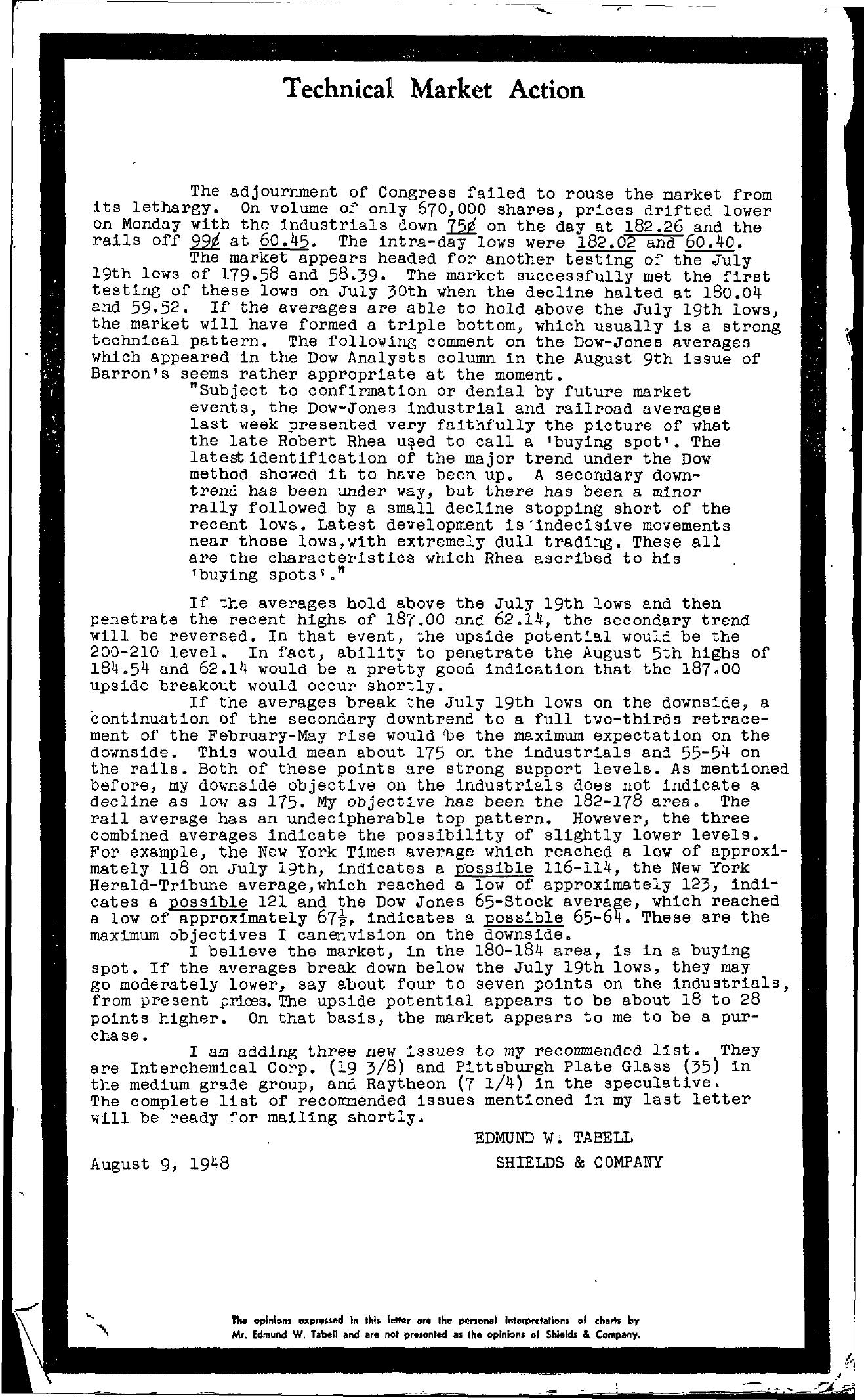 Tabell's Market Letter - August 09, 1948