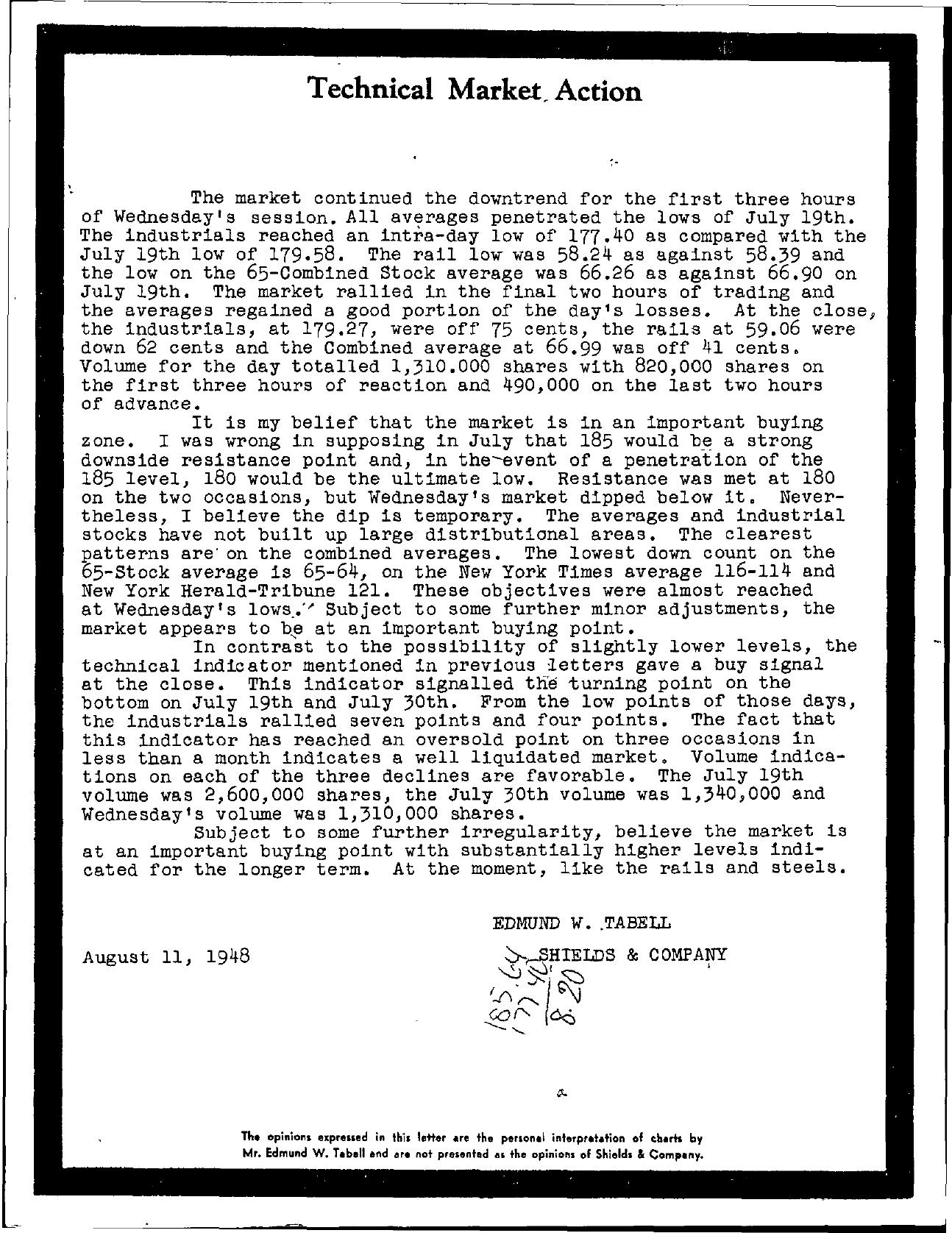 Tabell's Market Letter - August 11, 1948