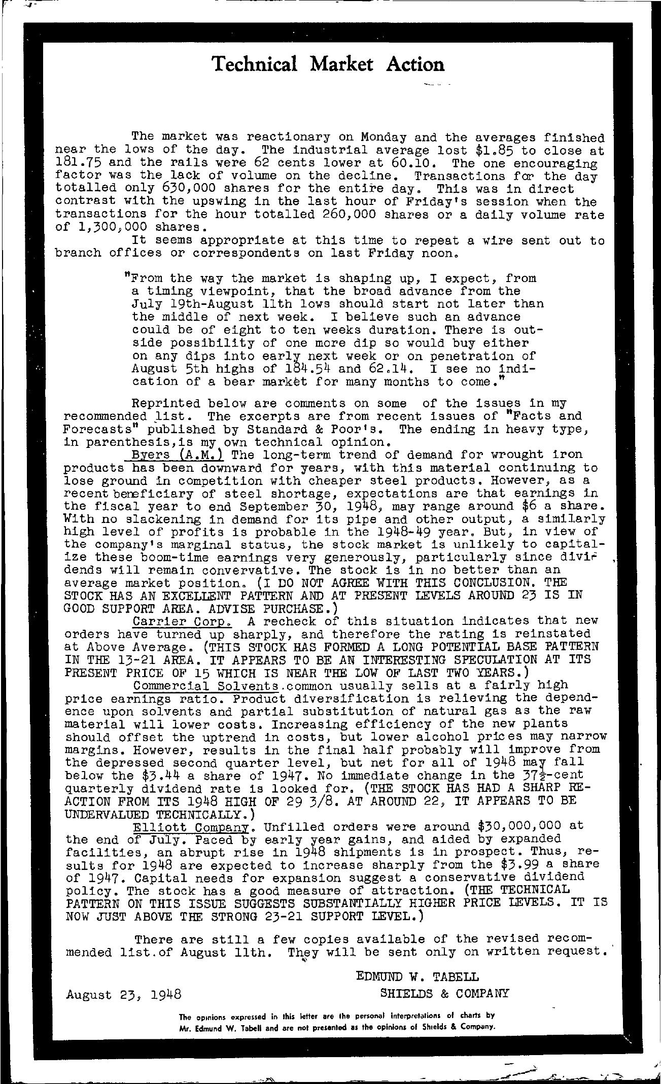 Tabell's Market Letter - August 23, 1948
