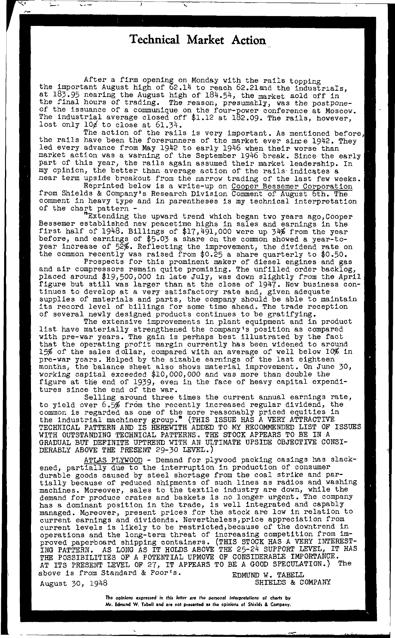 Tabell's Market Letter - August 30, 1948