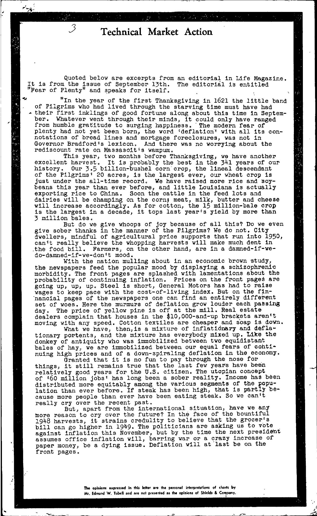 Tabell's Market Letter - September 15, 1948 page 1