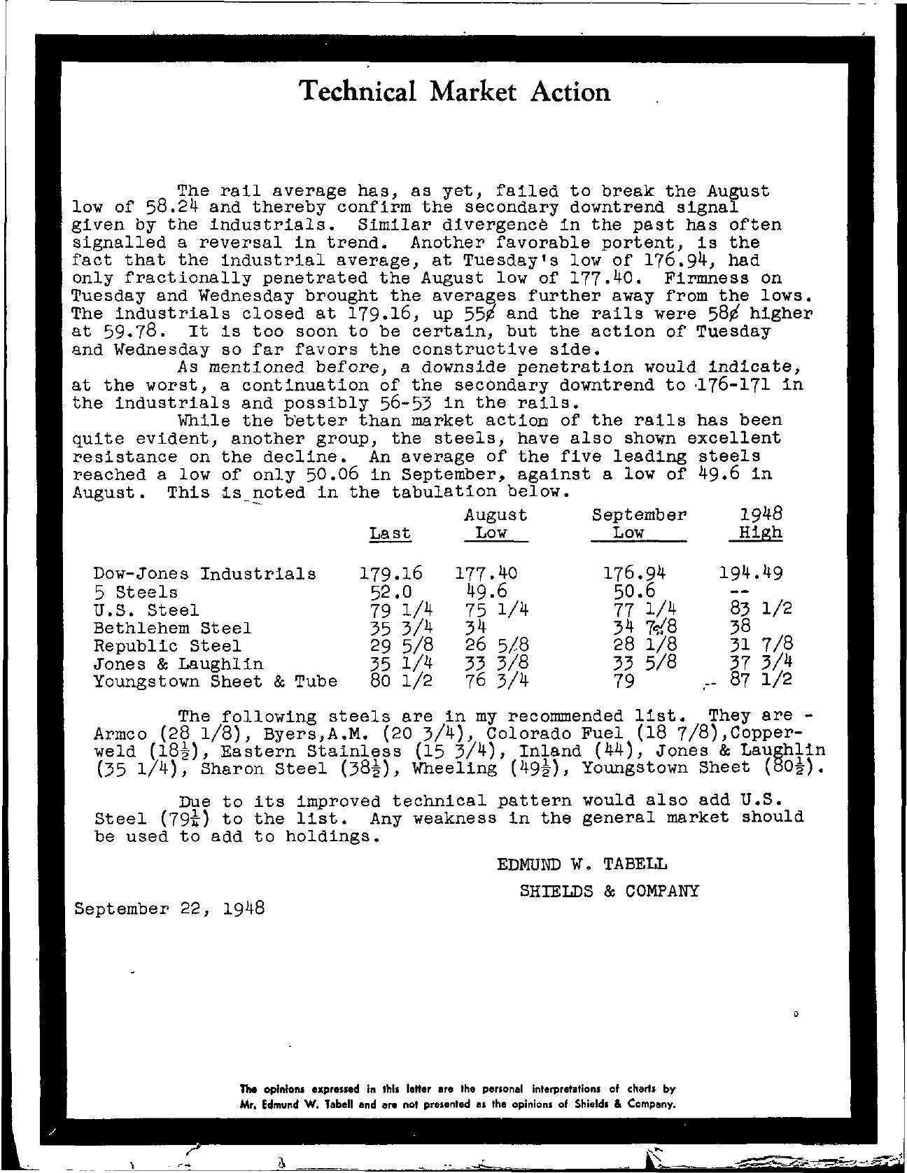 Tabell's Market Letter - September 22, 1948