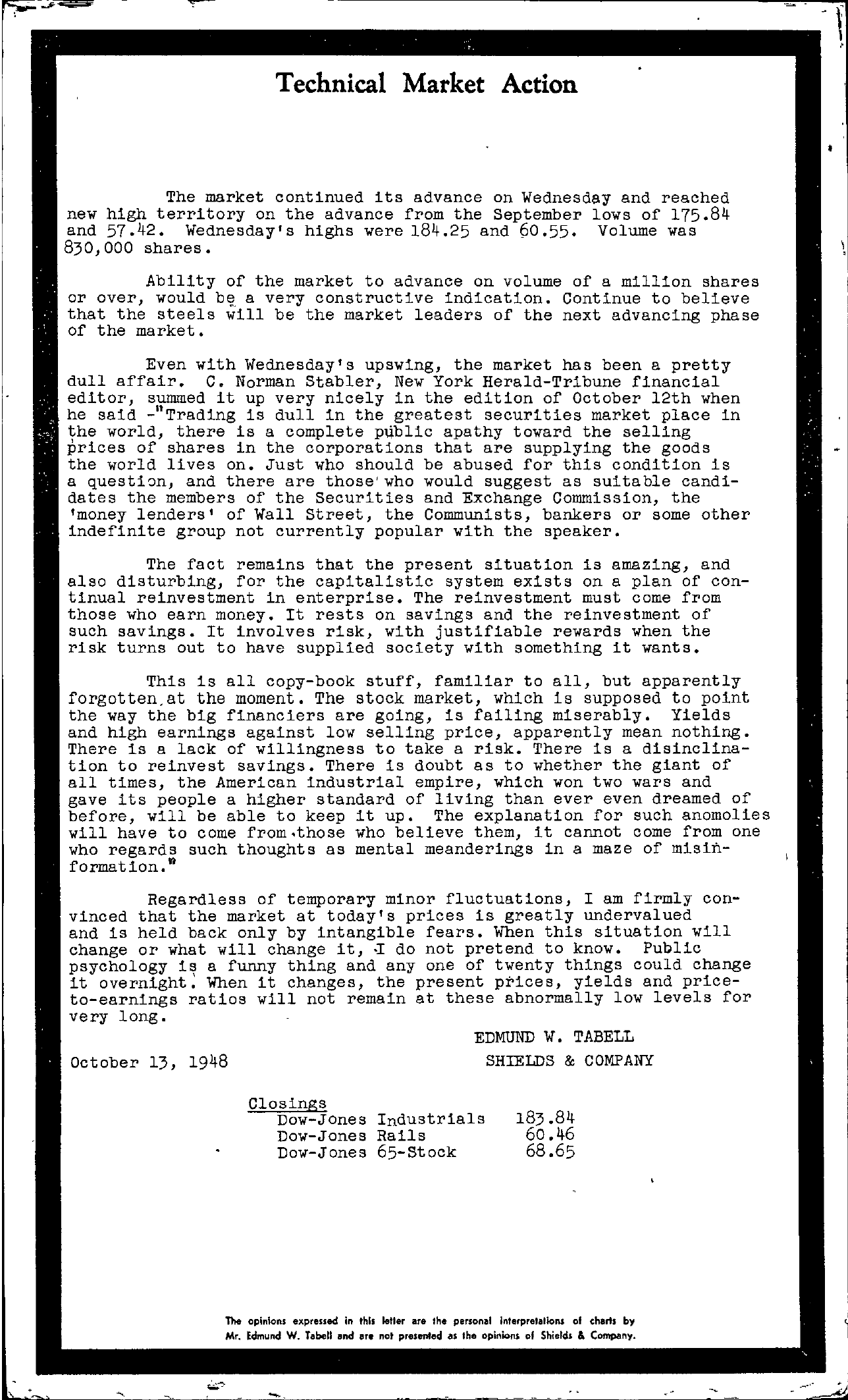 Tabell's Market Letter - October 13, 1948
