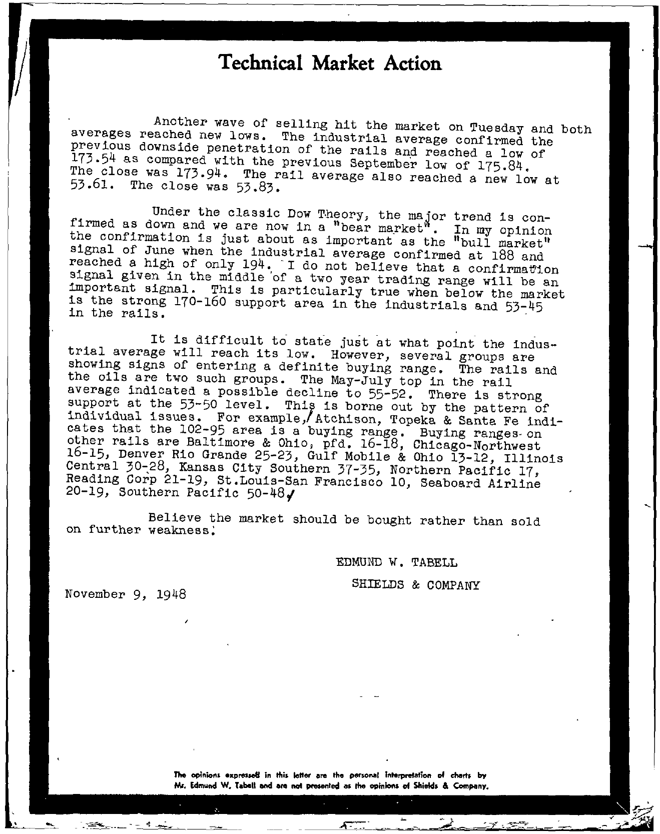 Tabell's Market Letter - November 09, 1948