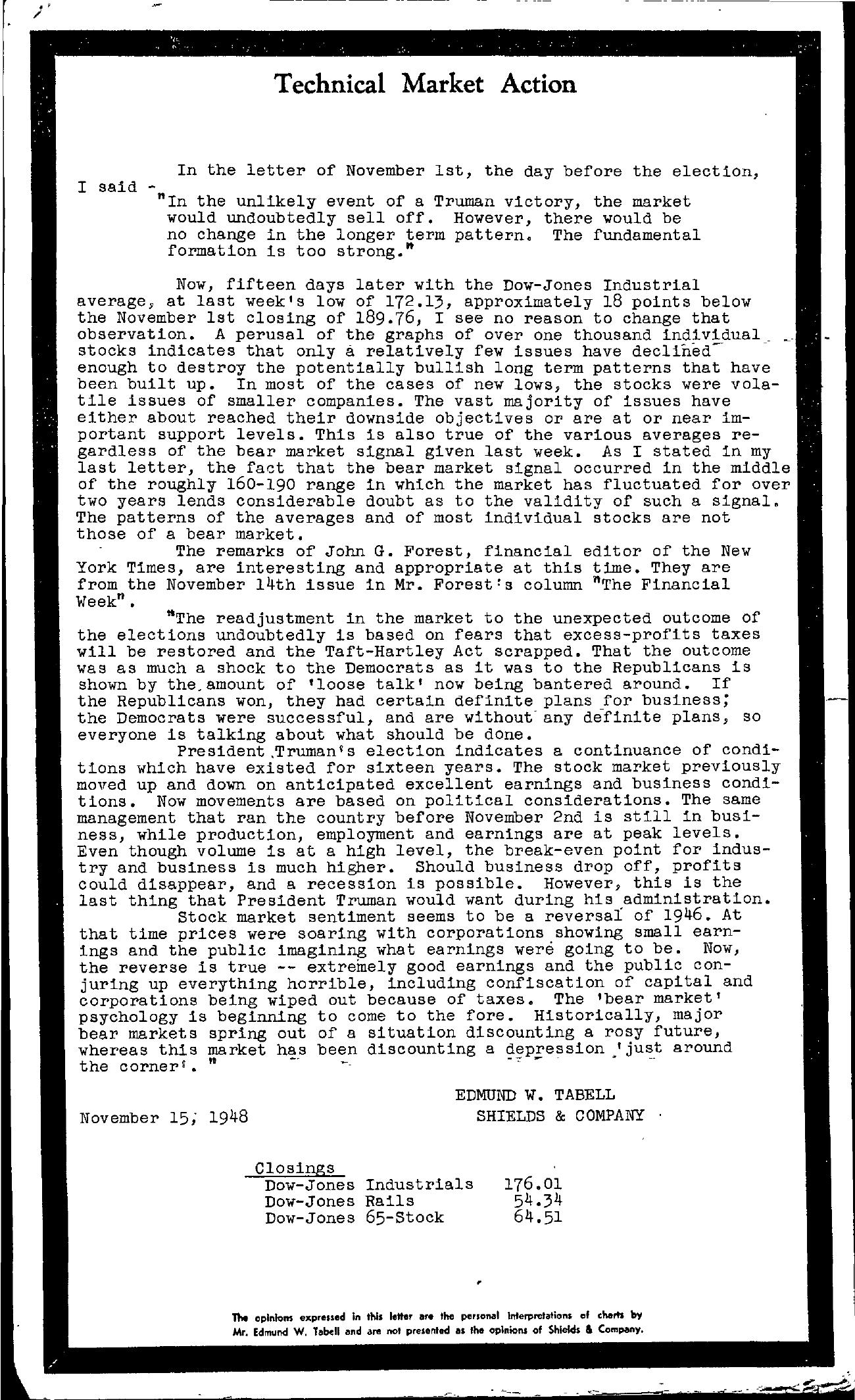 Tabell's Market Letter - November 15, 1948