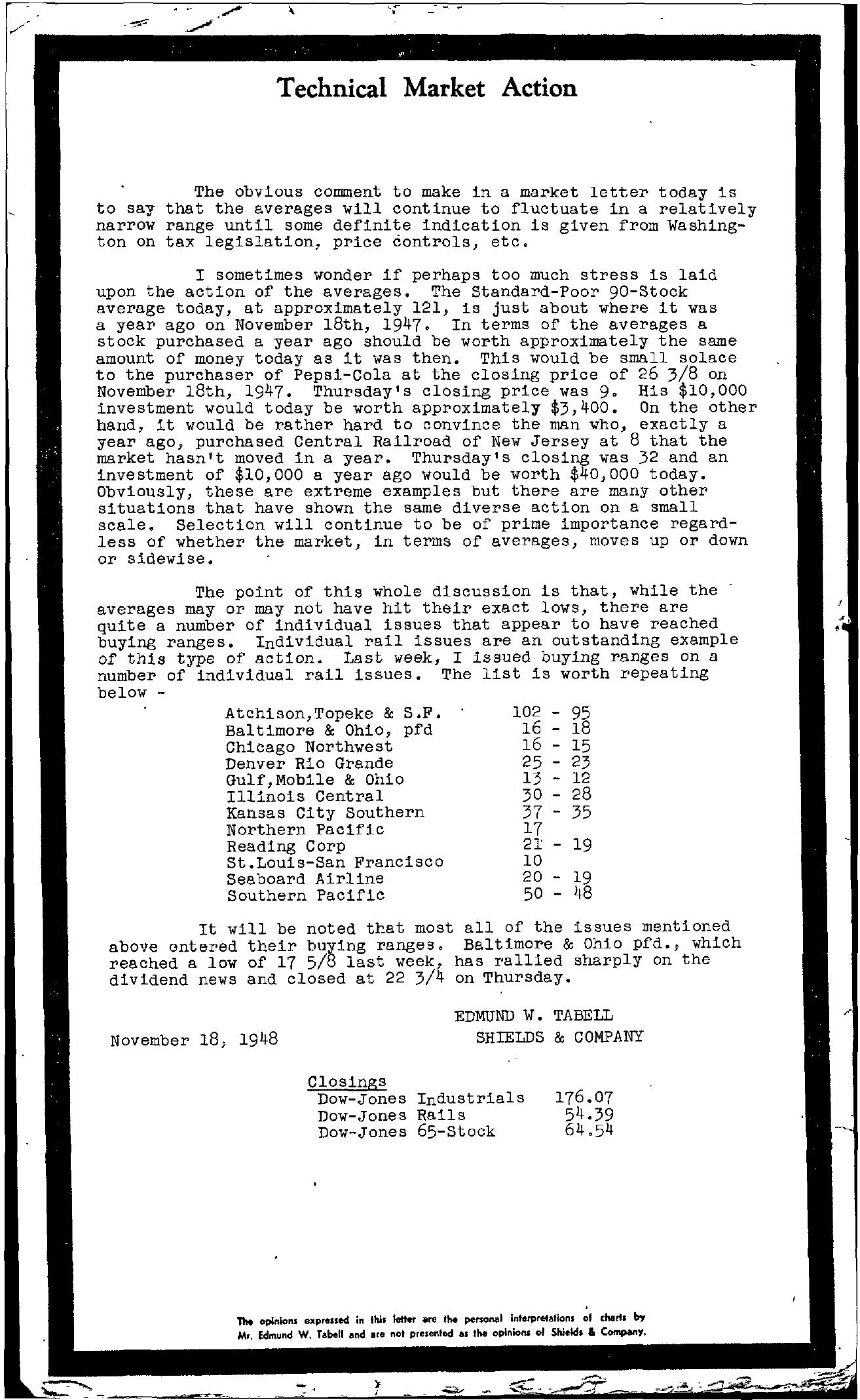 Tabell's Market Letter - November 18, 1948