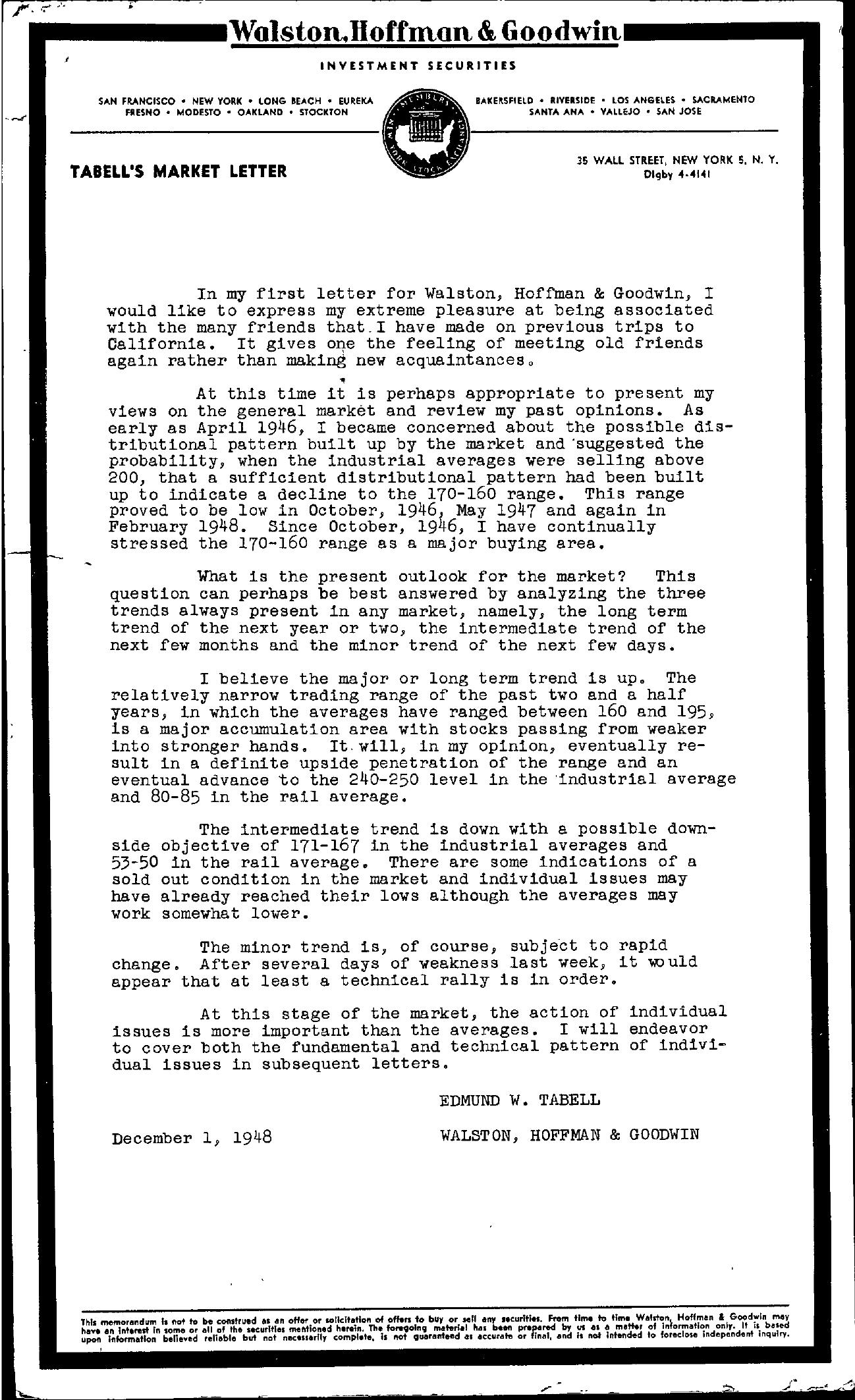 Tabell's Market Letter - December 01, 1948