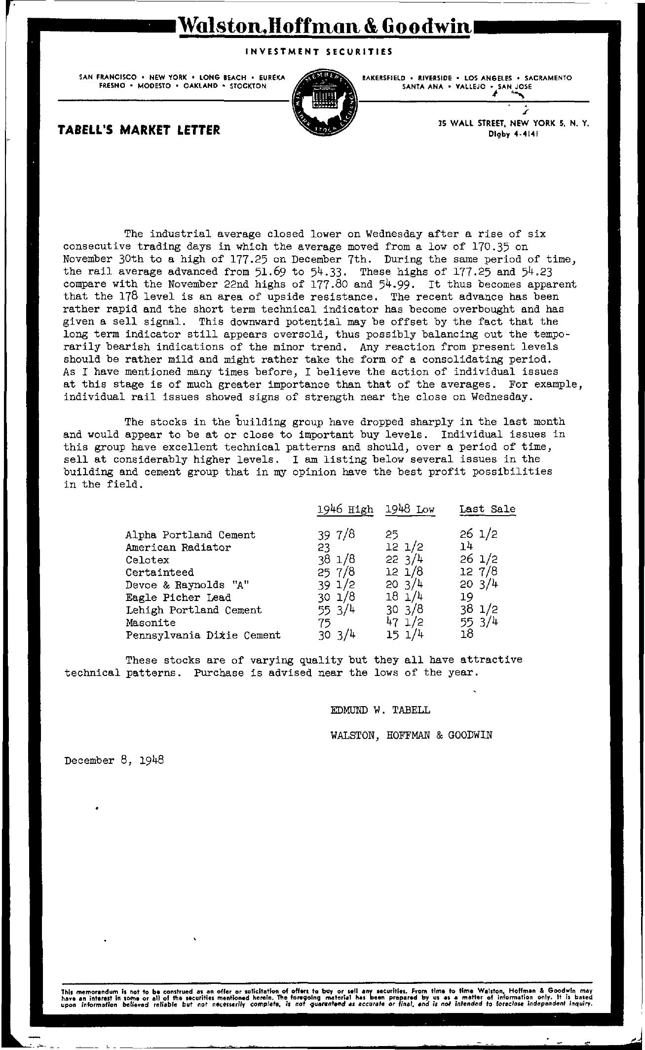Tabell's Market Letter - December 08, 1948