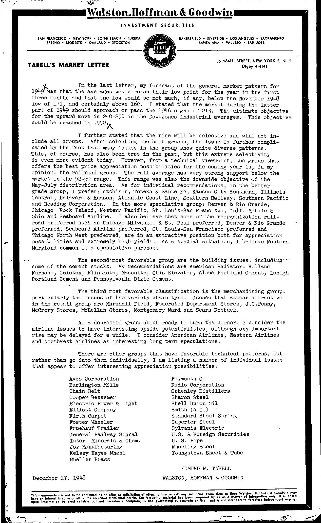 Tabell's Market Letter - December 17, 1948