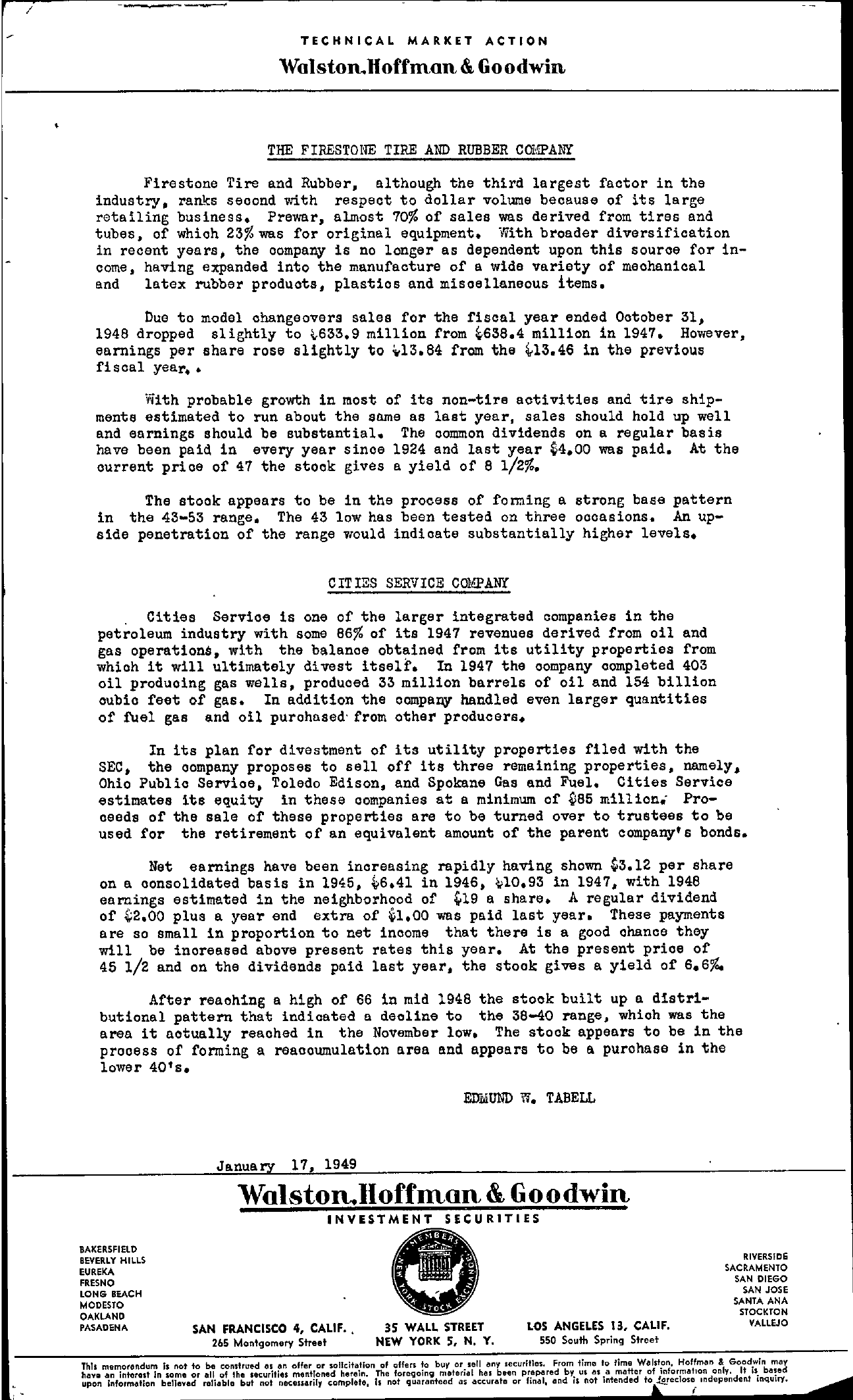 Tabell's Market Letter - January 17, 1949