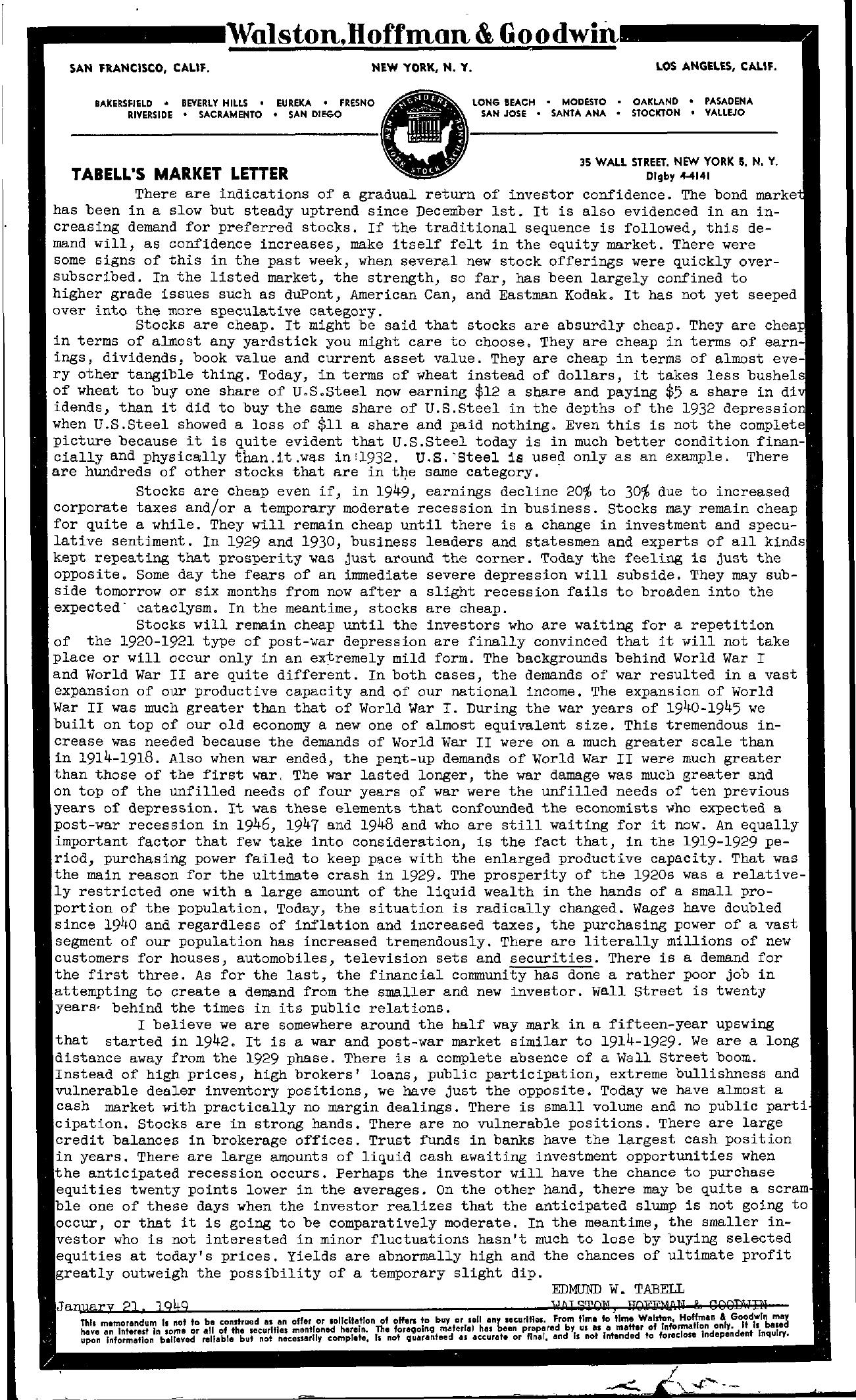 Tabell's Market Letter - January 21, 1949