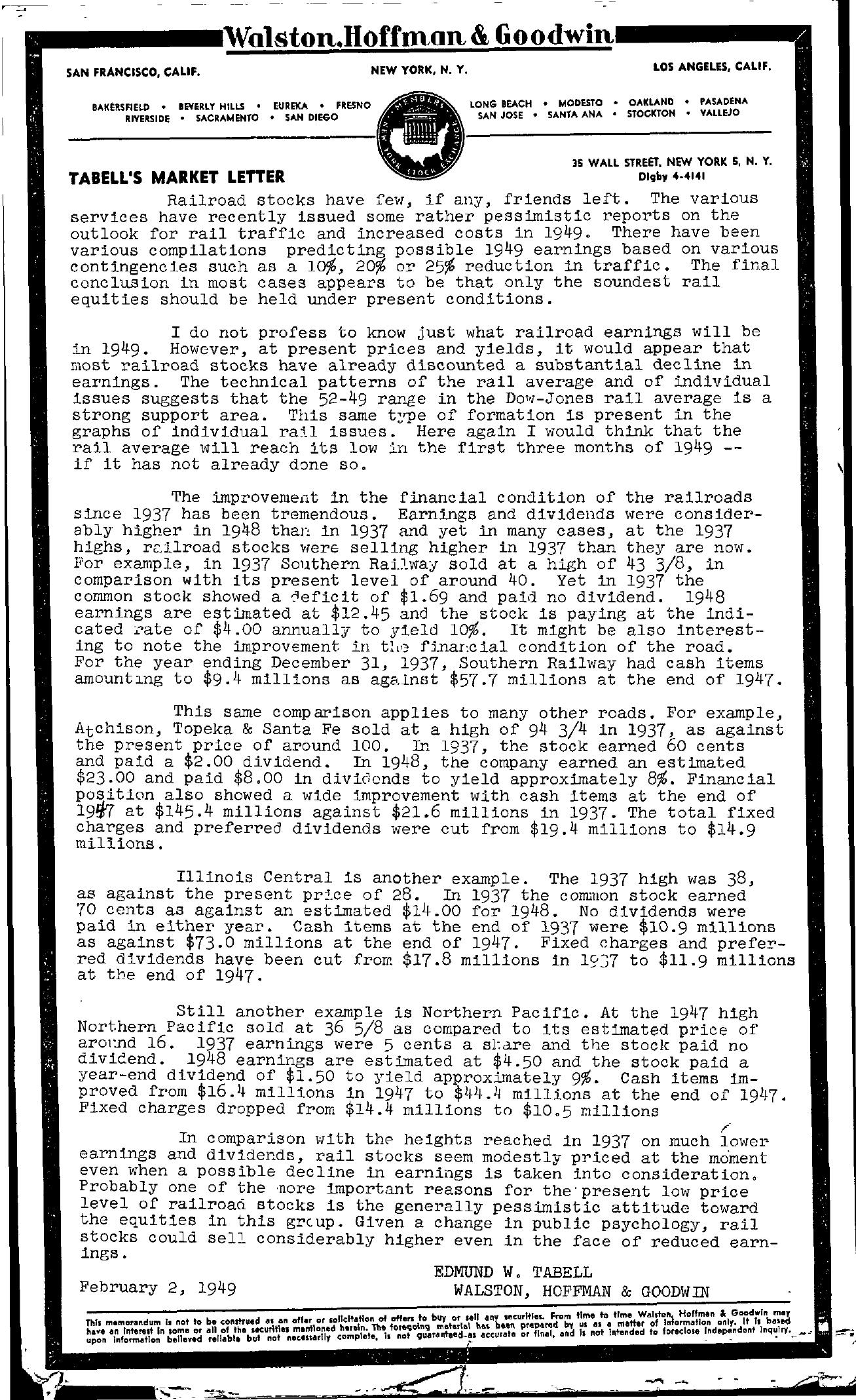 Tabell's Market Letter - February 02, 1949