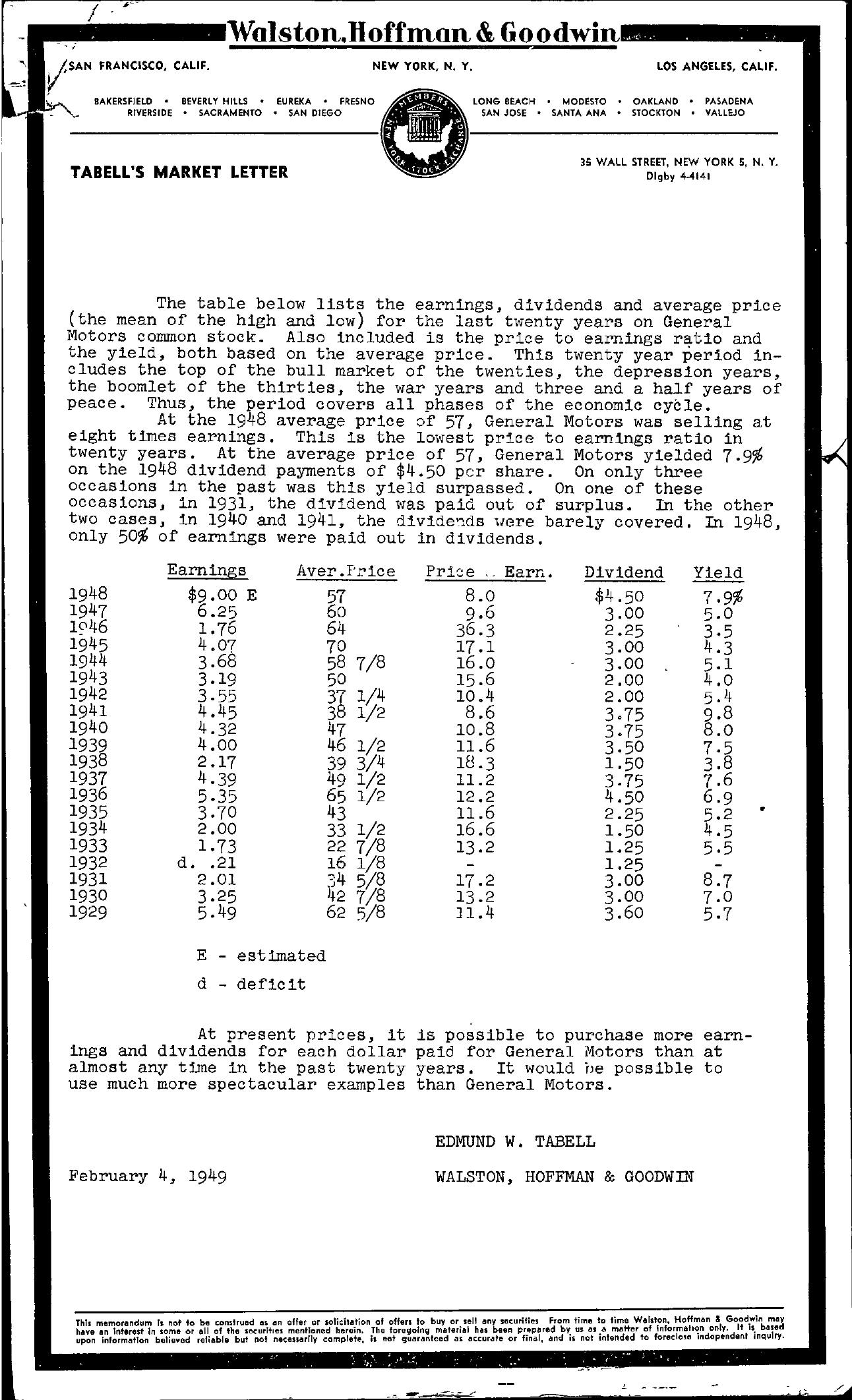 Tabell's Market Letter - February 04, 1949