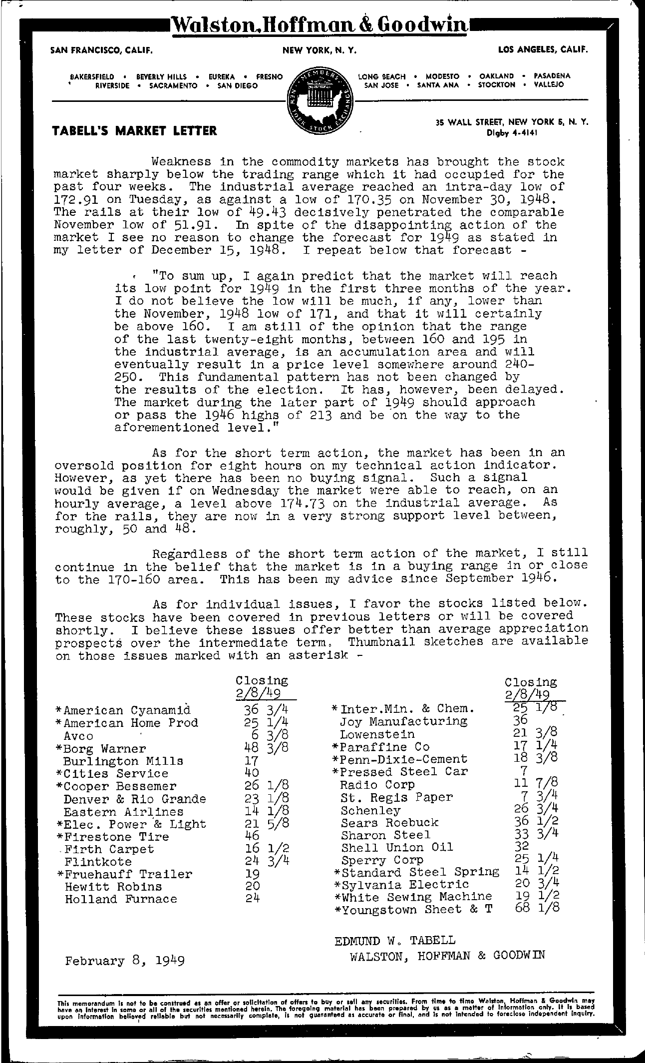 Tabell's Market Letter - February 08, 1949