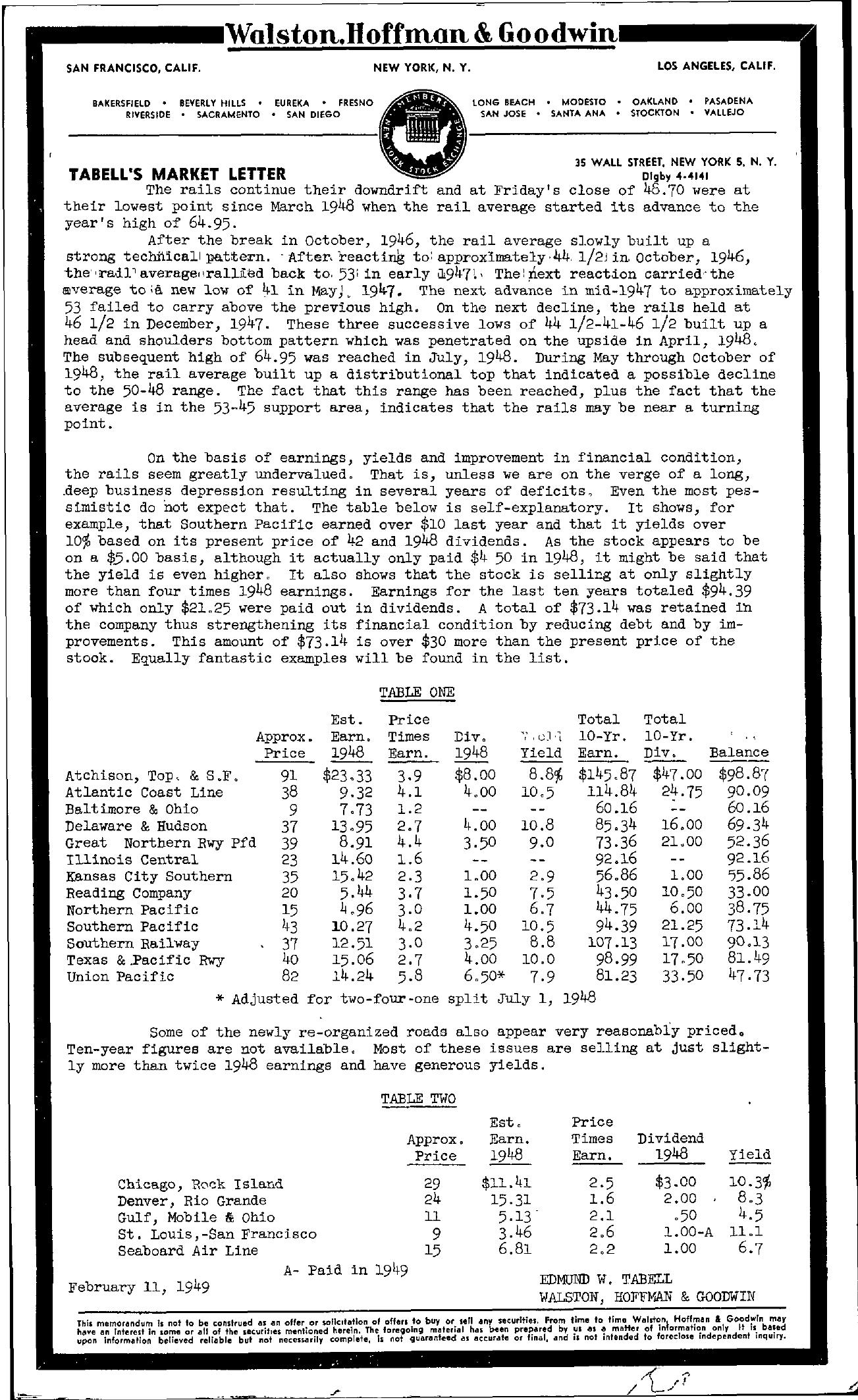 Tabell's Market Letter - February 11, 1949