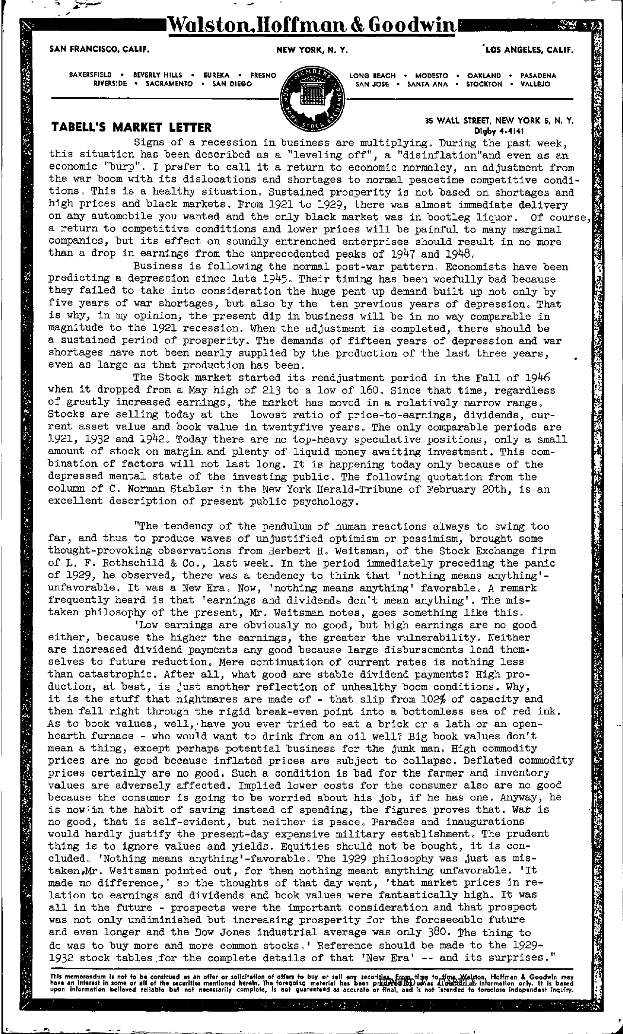 Tabell's Market Letter - February 25, 1949 page 1