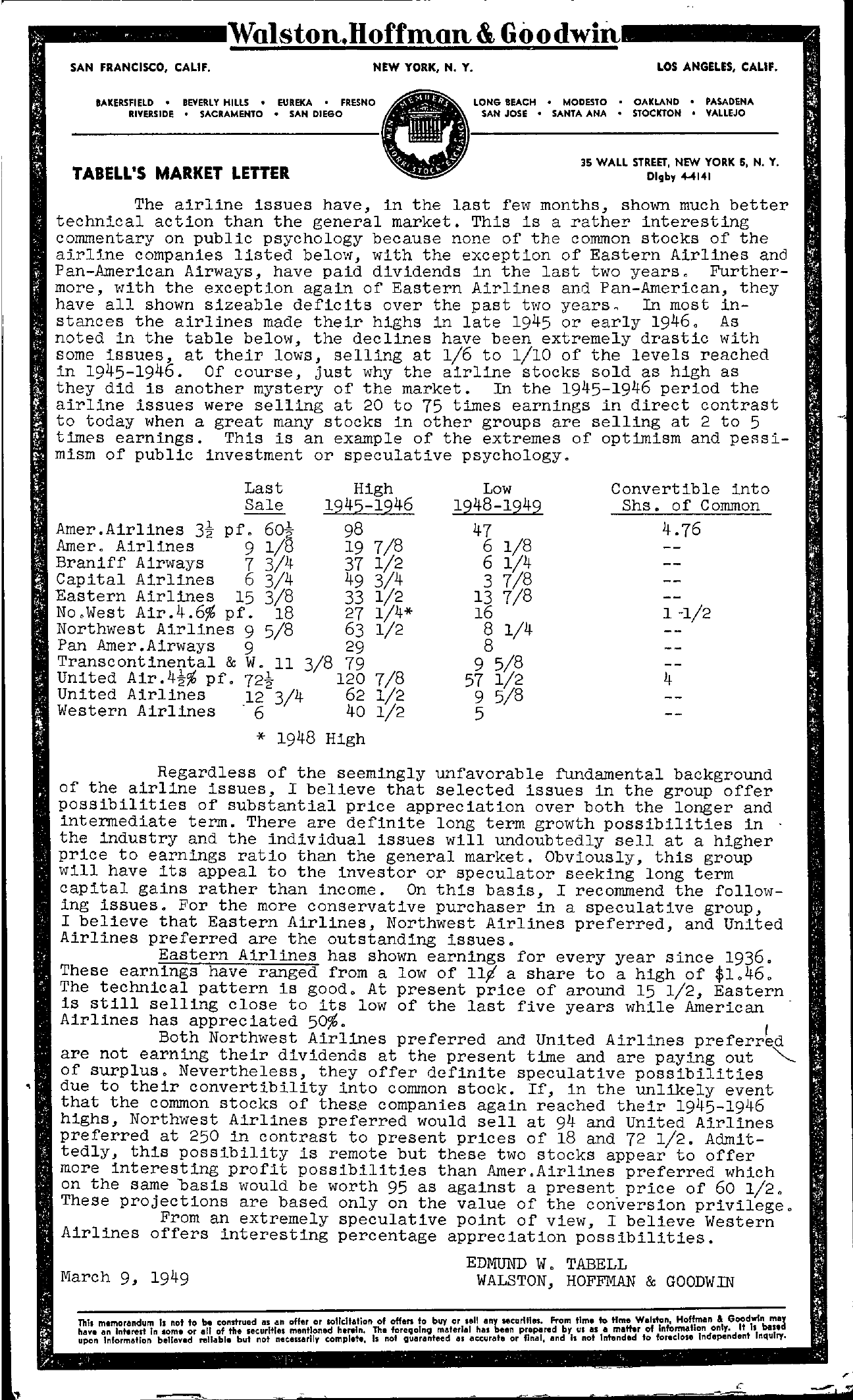 Tabell's Market Letter - March 09, 1949