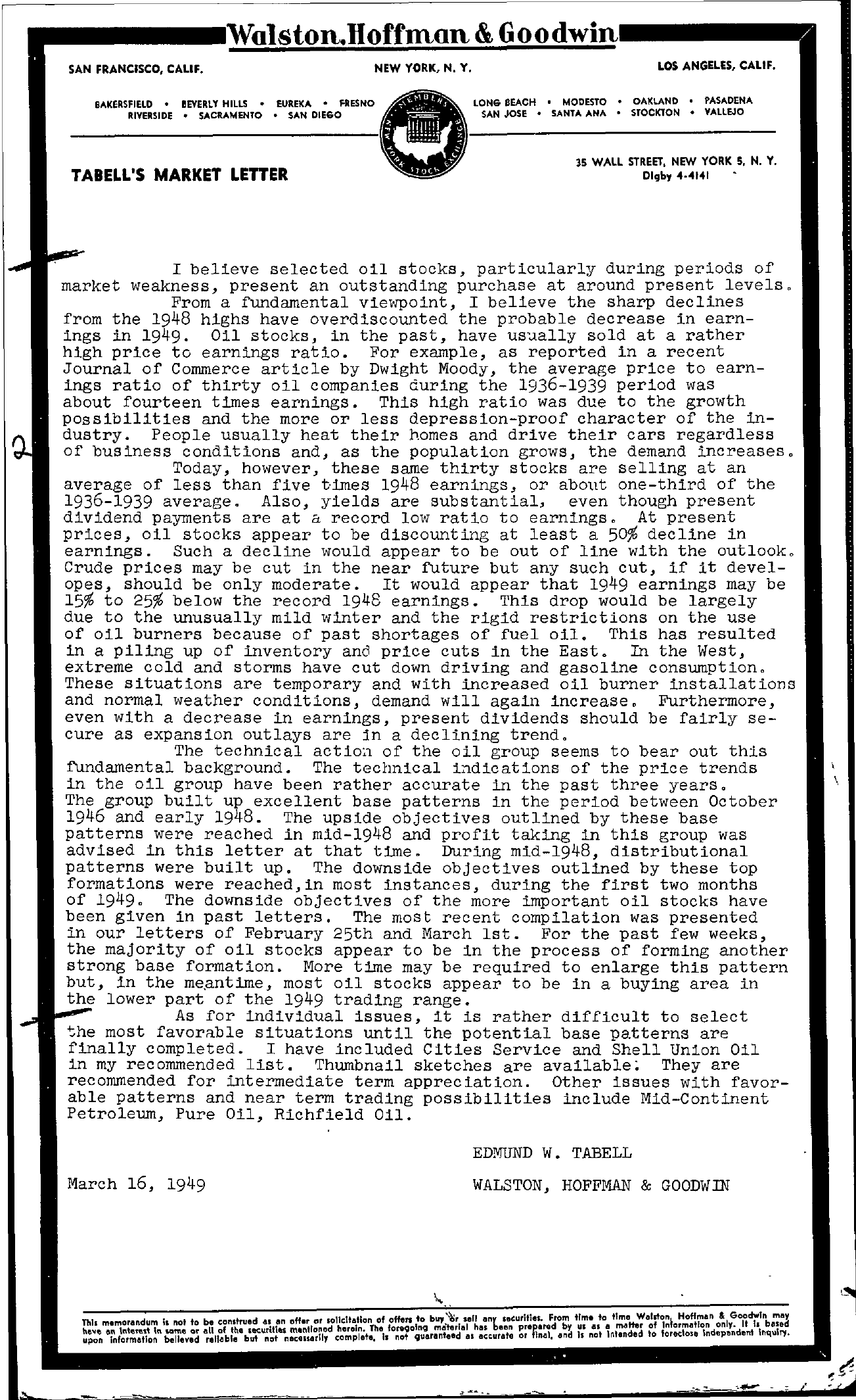 Tabell's Market Letter - March 16, 1949