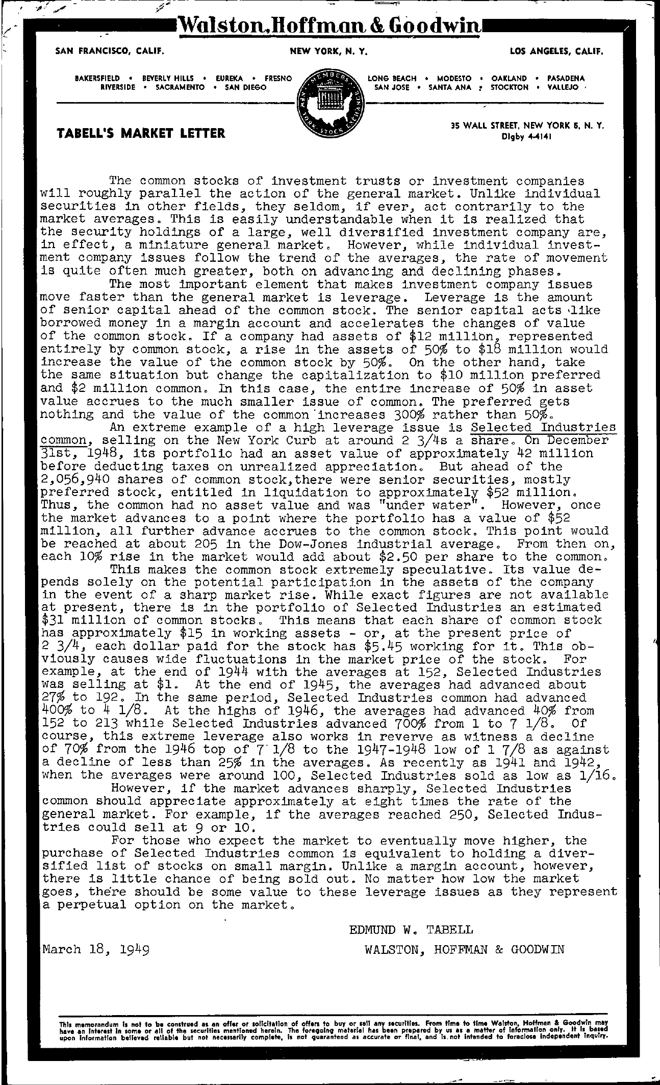 Tabell's Market Letter - March 18, 1949