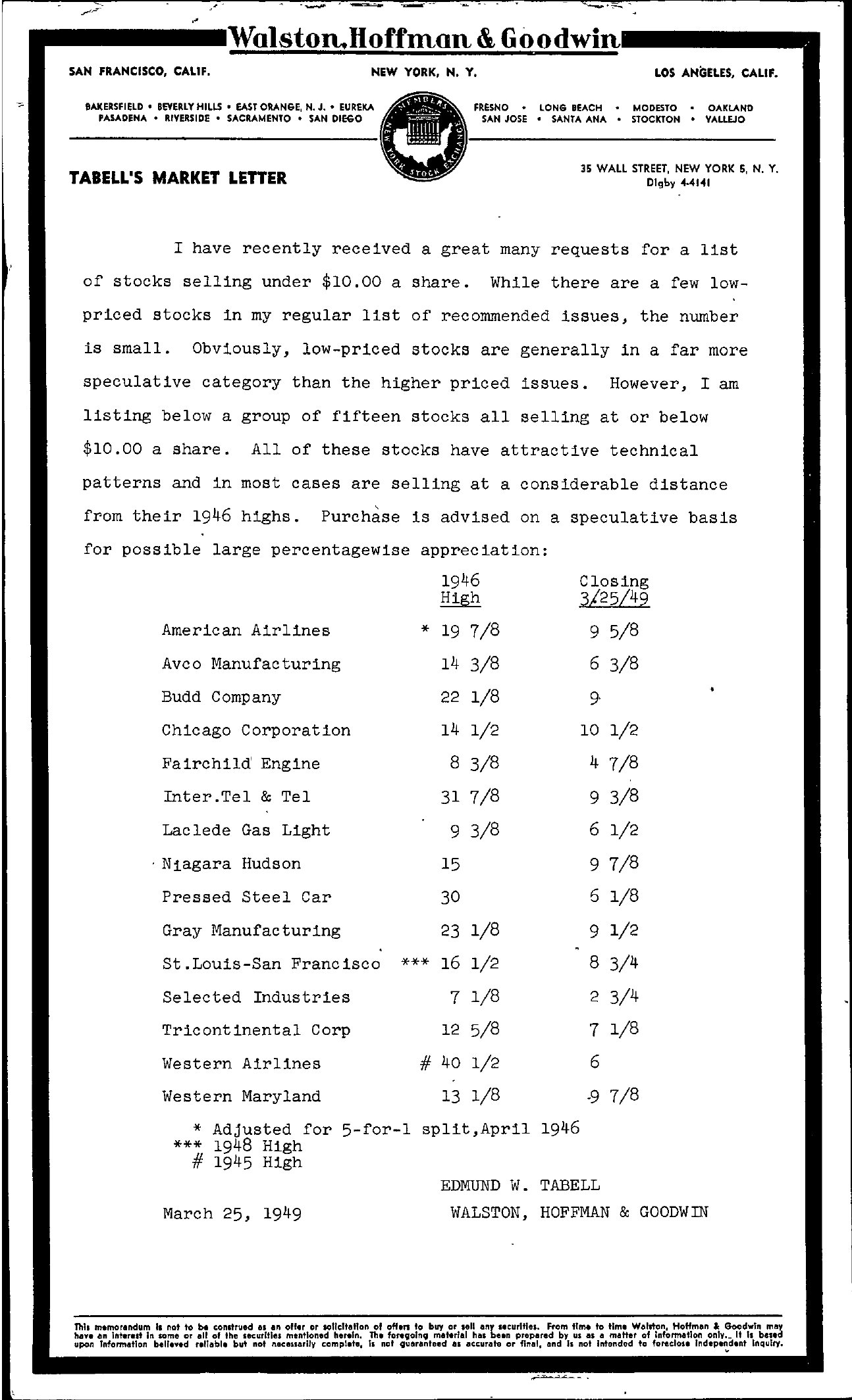 Tabell's Market Letter - March 25, 1949