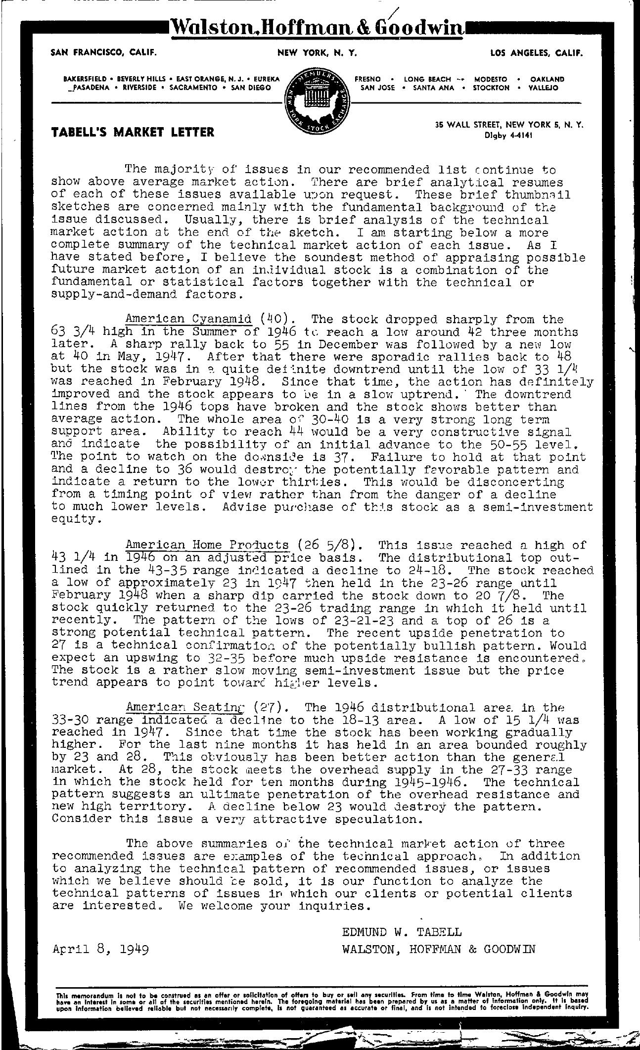 Tabell's Market Letter - April 08, 1949