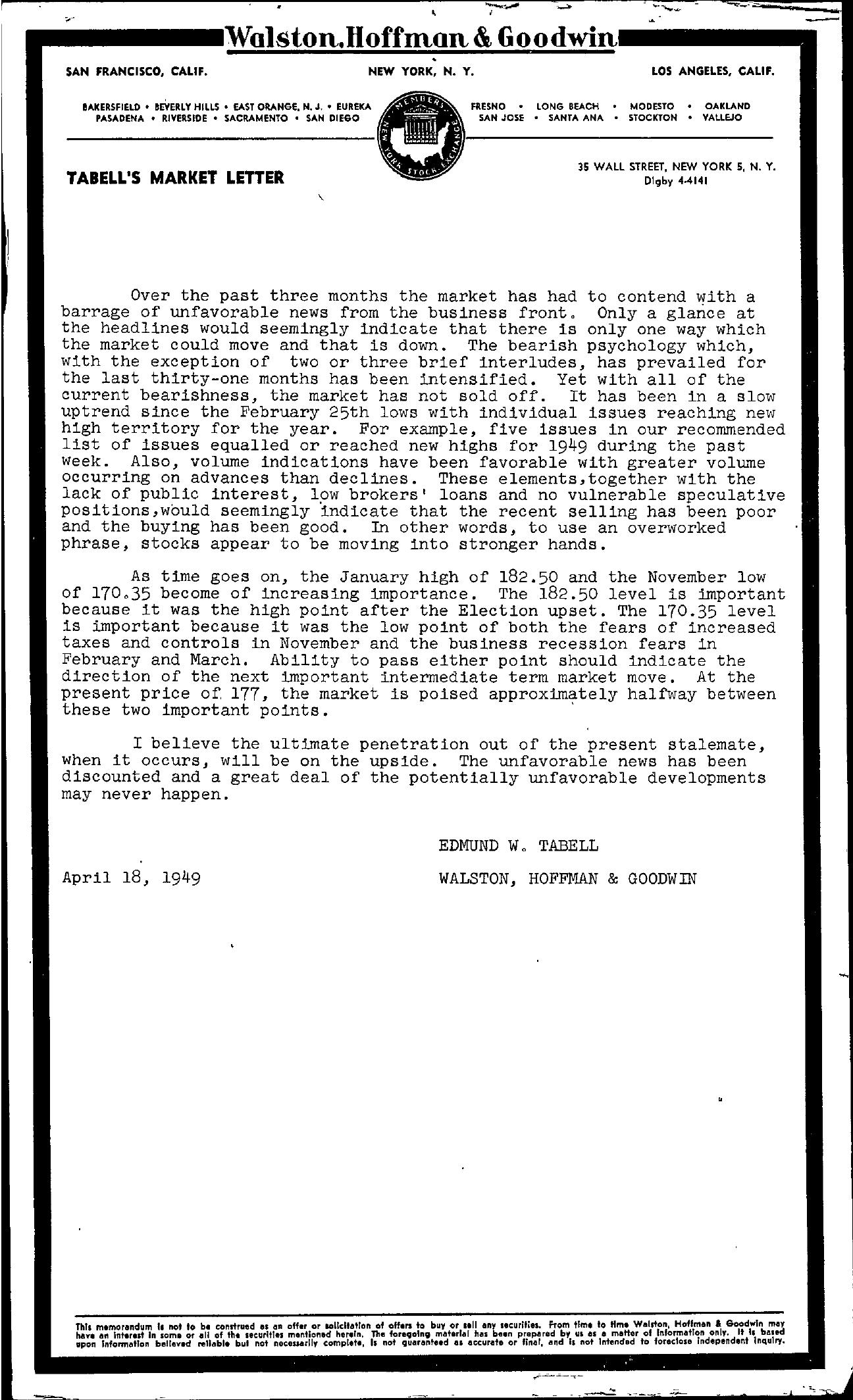 Tabell's Market Letter - April 18, 1949