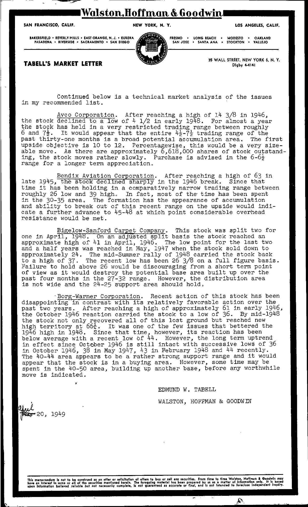 Tabell's Market Letter - April 20, 1949