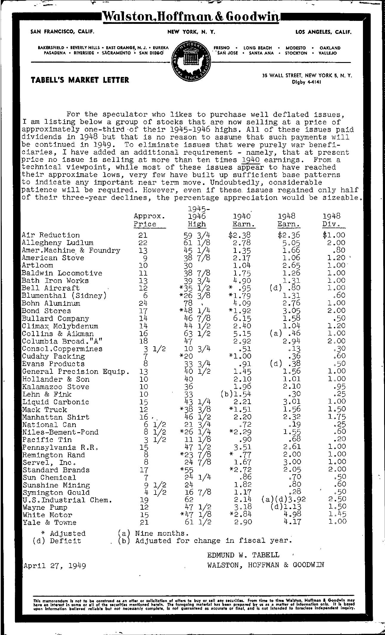 Tabell's Market Letter - April 27, 1949