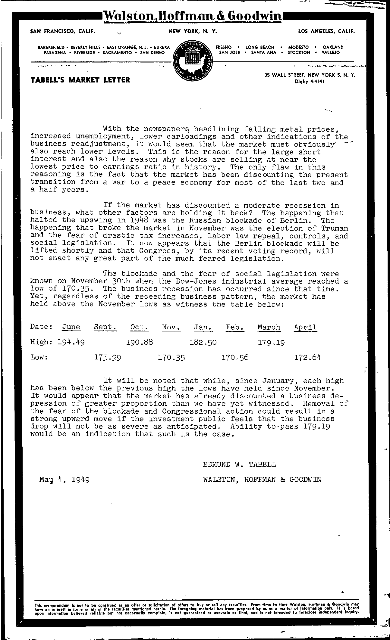 Tabell's Market Letter - May 04, 1949