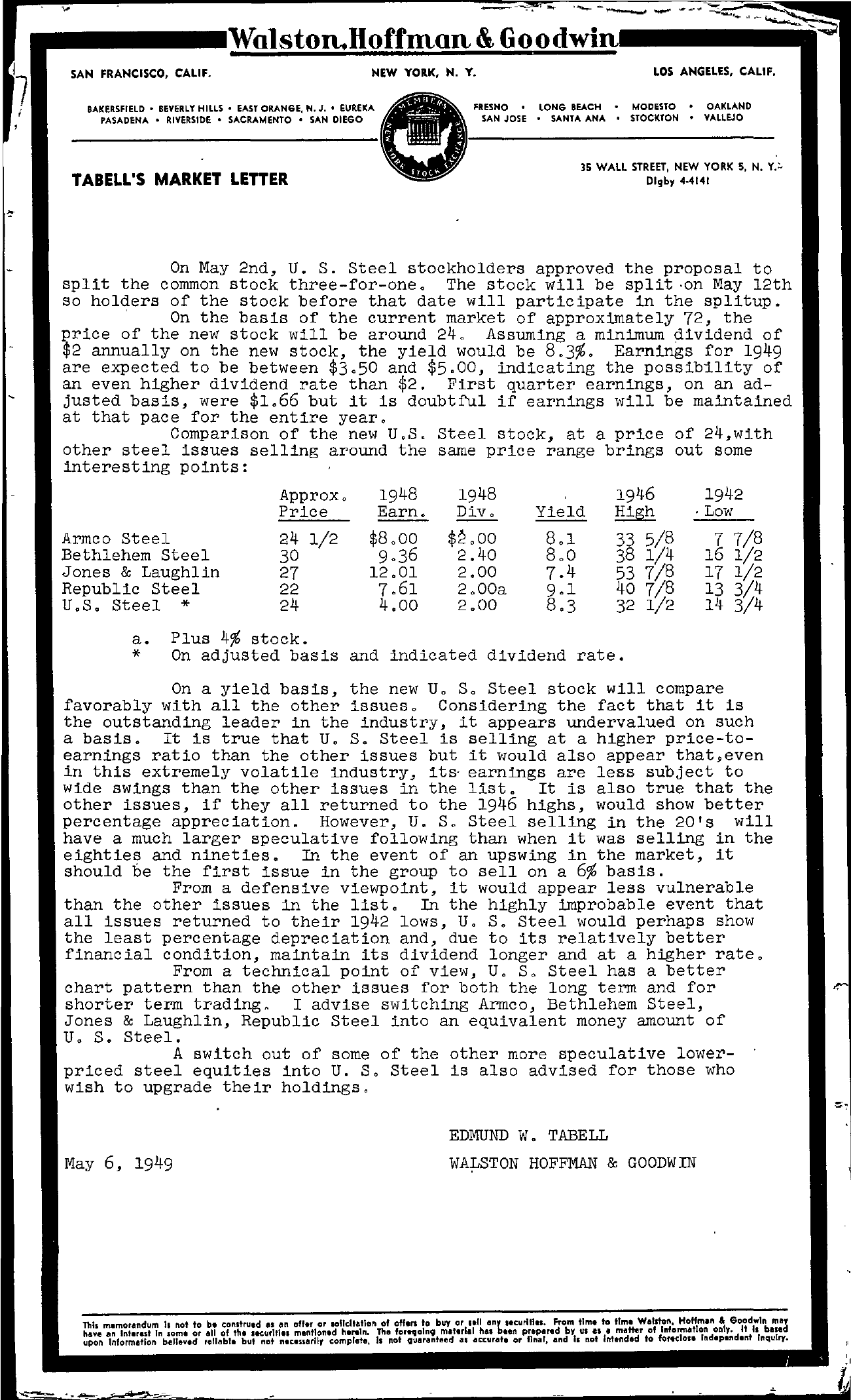 Tabell's Market Letter - May 06, 1949