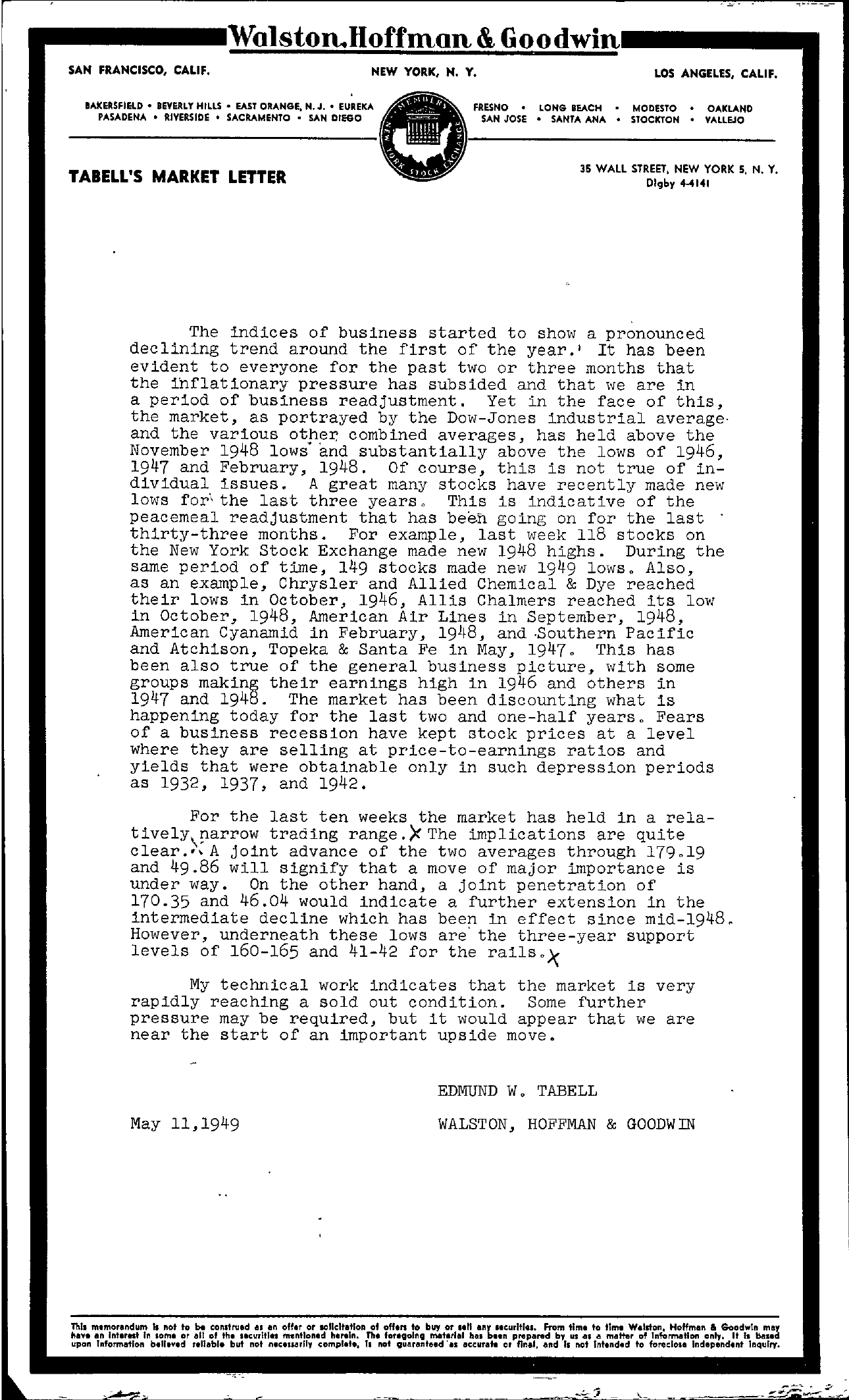 Tabell's Market Letter - May 11, 1949
