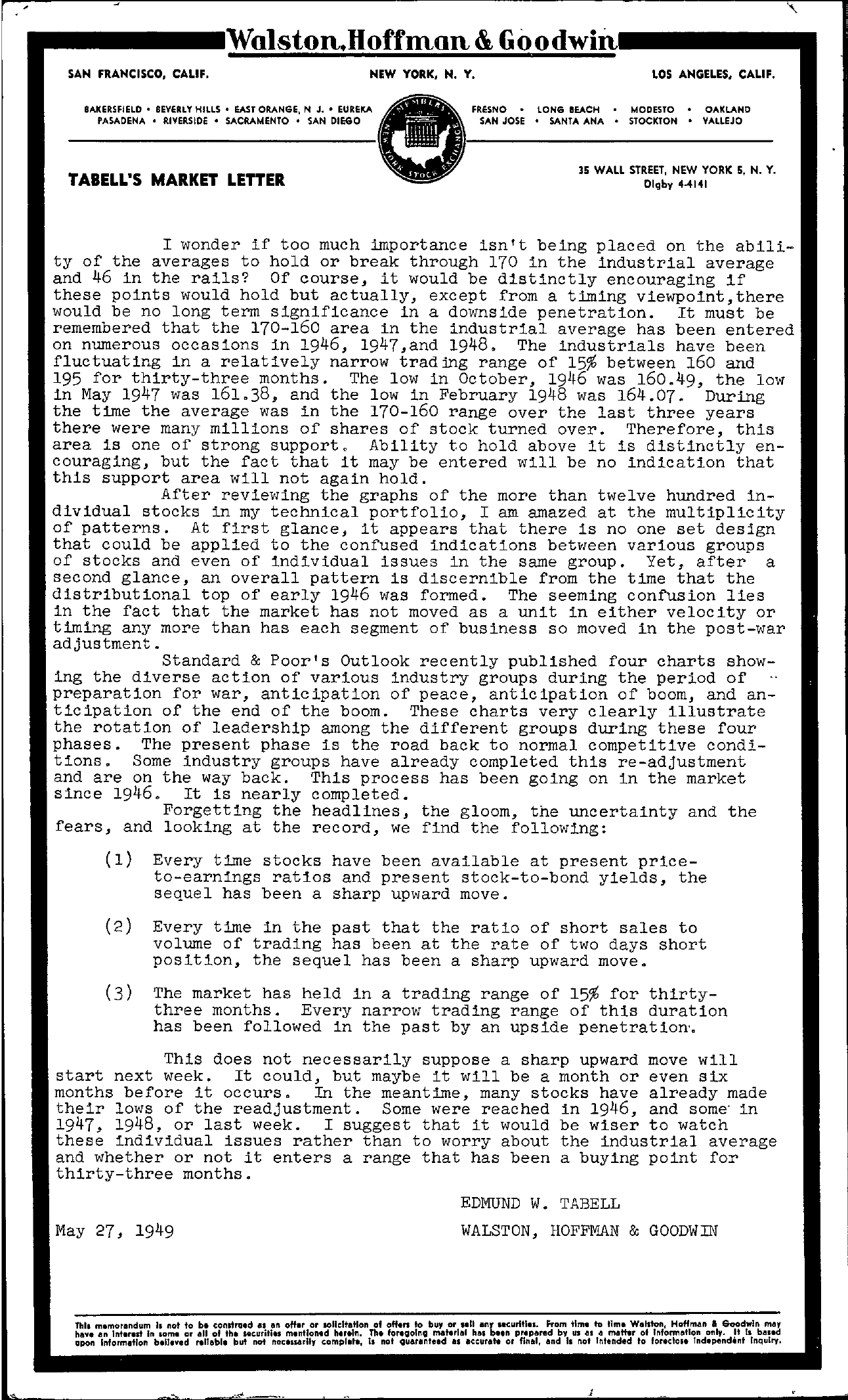 Tabell's Market Letter - May 27, 1949