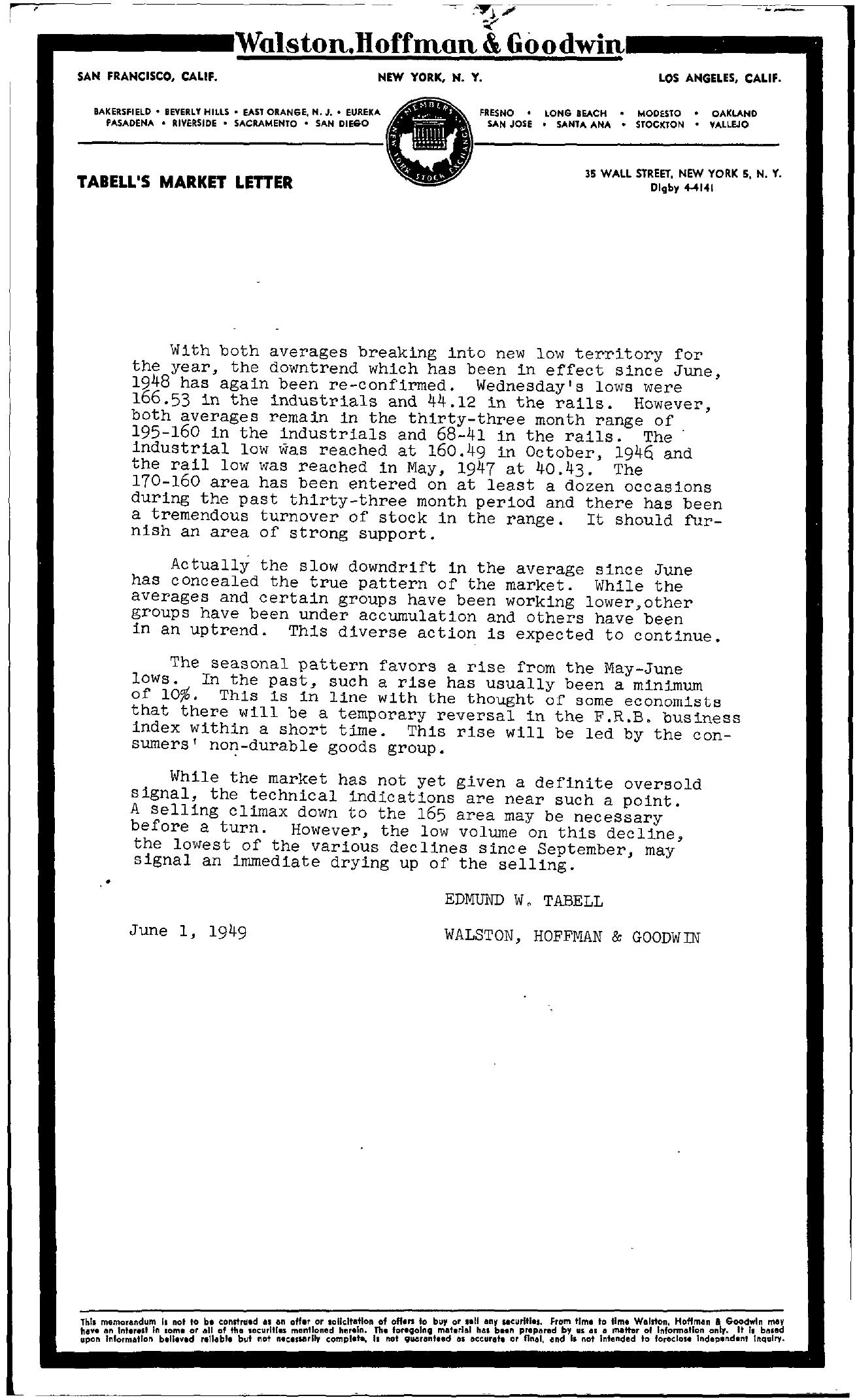 Tabell's Market Letter - June 01, 1949
