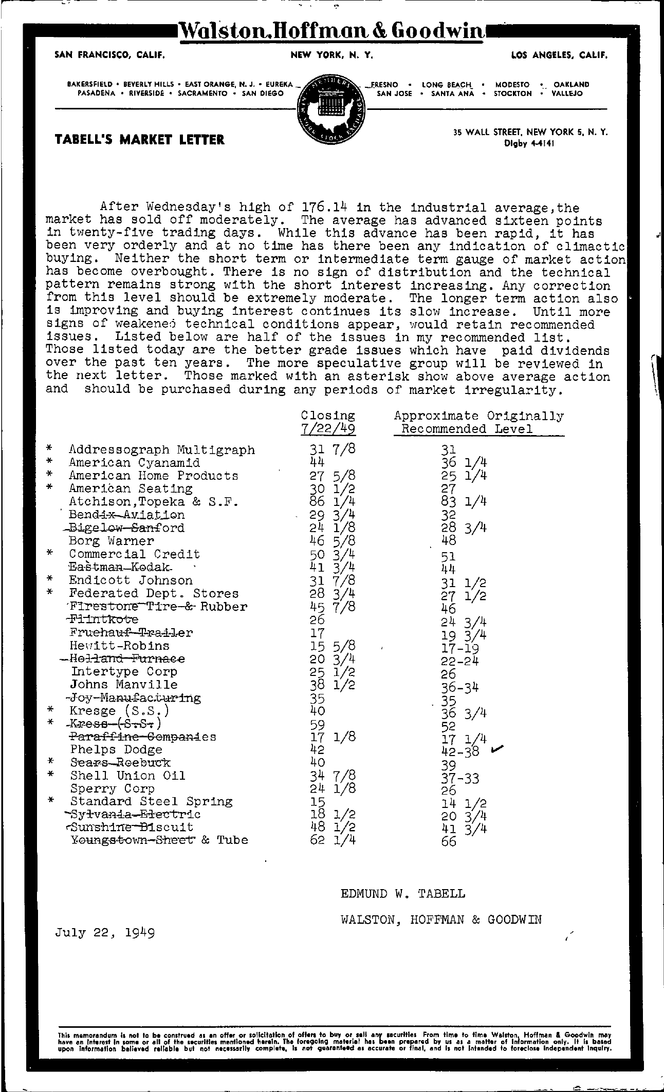 Tabell's Market Letter - July 22, 1949